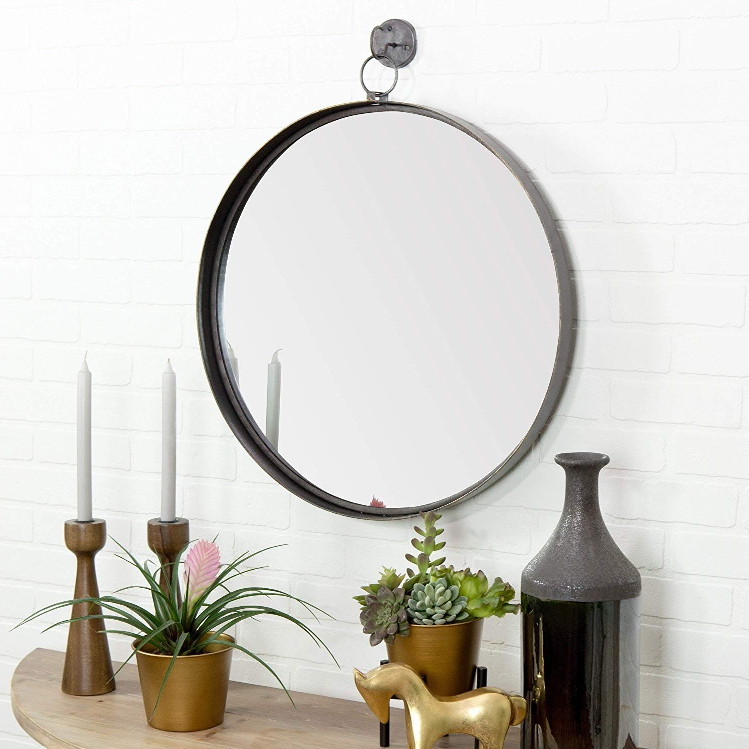 Brown Wall Mirrors Within Newest Aspire Home Accents Bescott Suspended Round Wall Mirror – Brown – N/a (View 15 of 20)