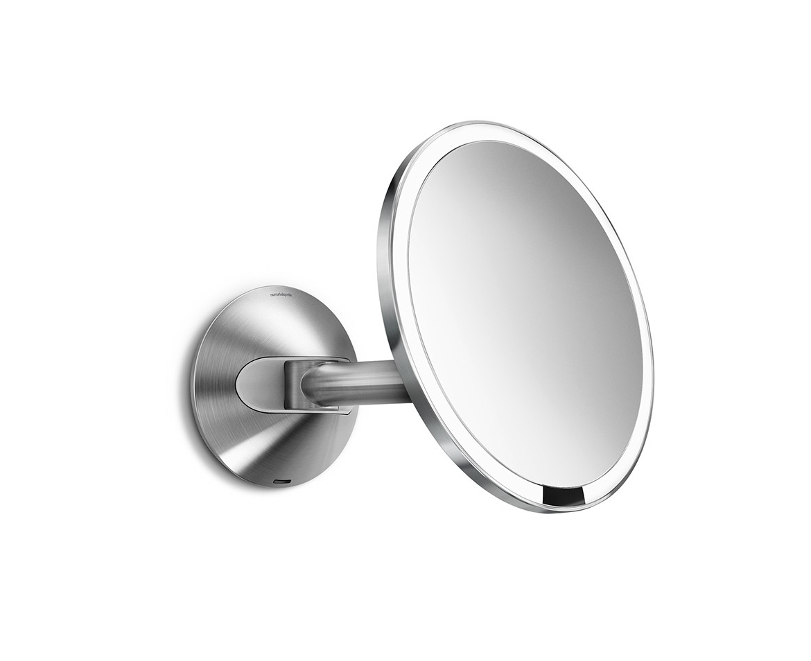 Brushed 20cm Wall Mount Sensor Mirror Rechargeable 5x Magnificationstainless Steel Intended For Popular Magnifying Wall Mirrors (View 7 of 20)