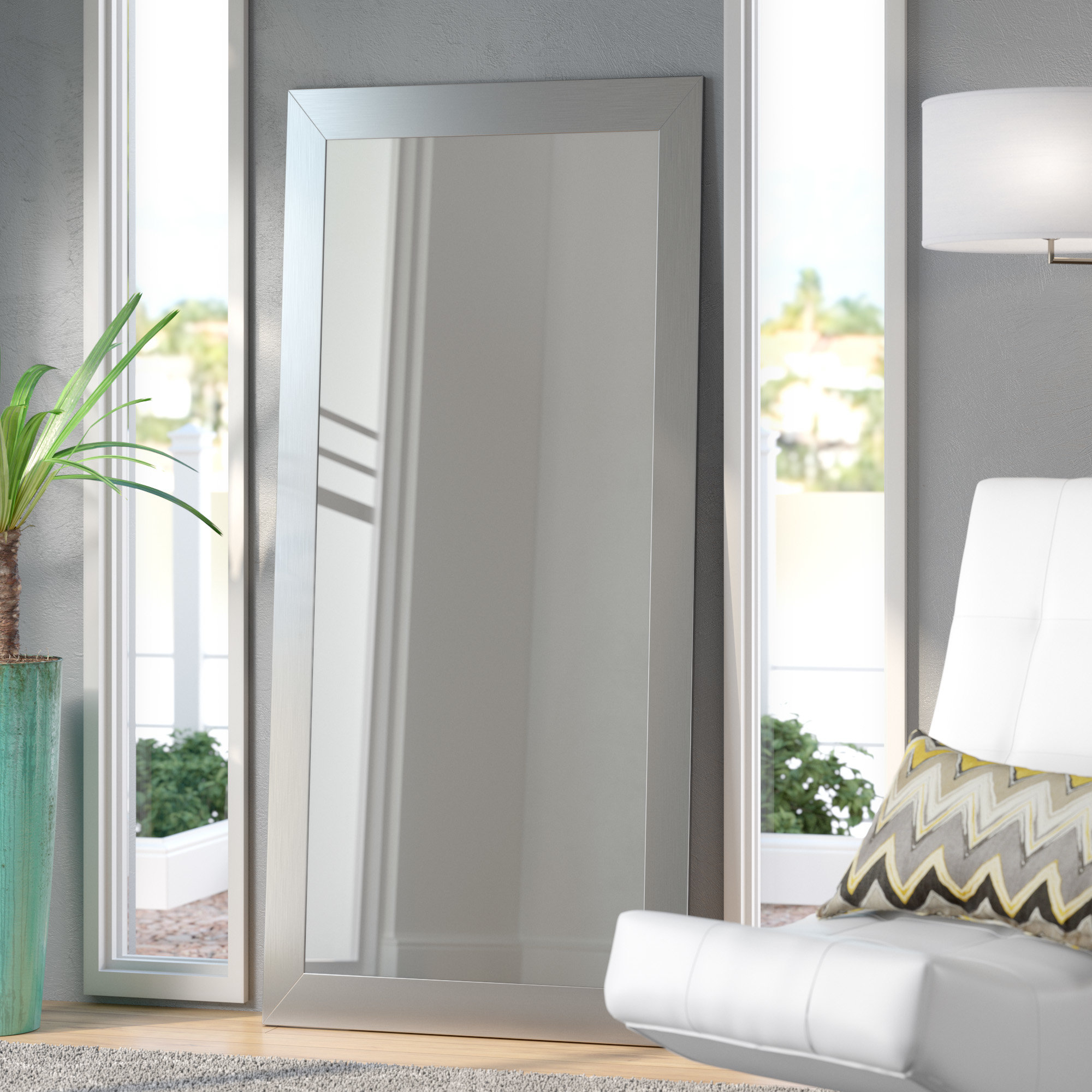 Brushed Nickel Aluminum Full Body Modern And Contemporary Wall Mirror Intended For Well Liked Modern Full Length Wall Mirrors (View 3 of 20)