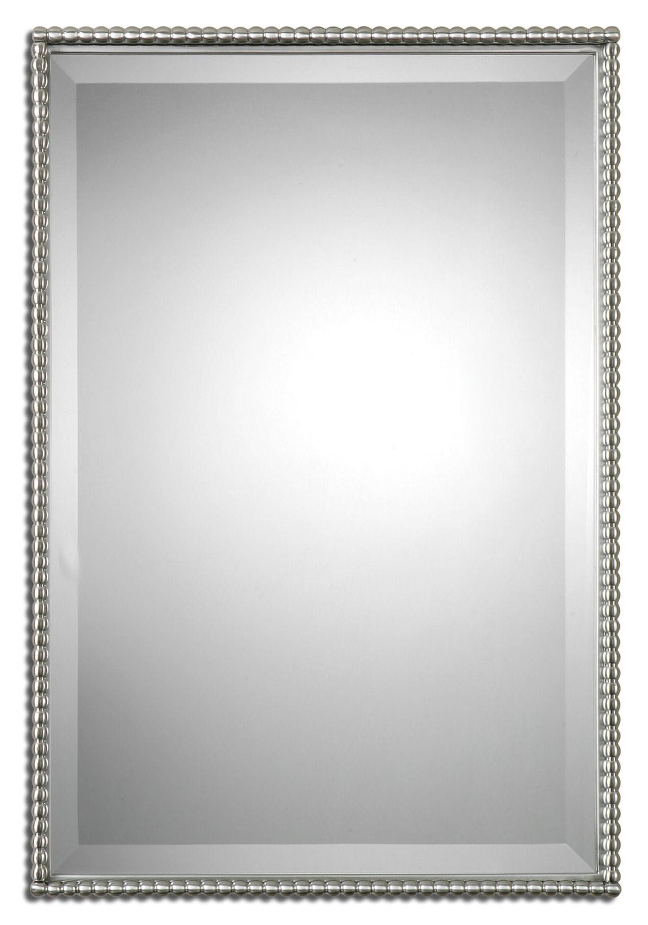 Brushed Nickel, Metal Frame Features A Decorative Beading Design In Current Abdul Accent Mirrors (View 8 of 20)
