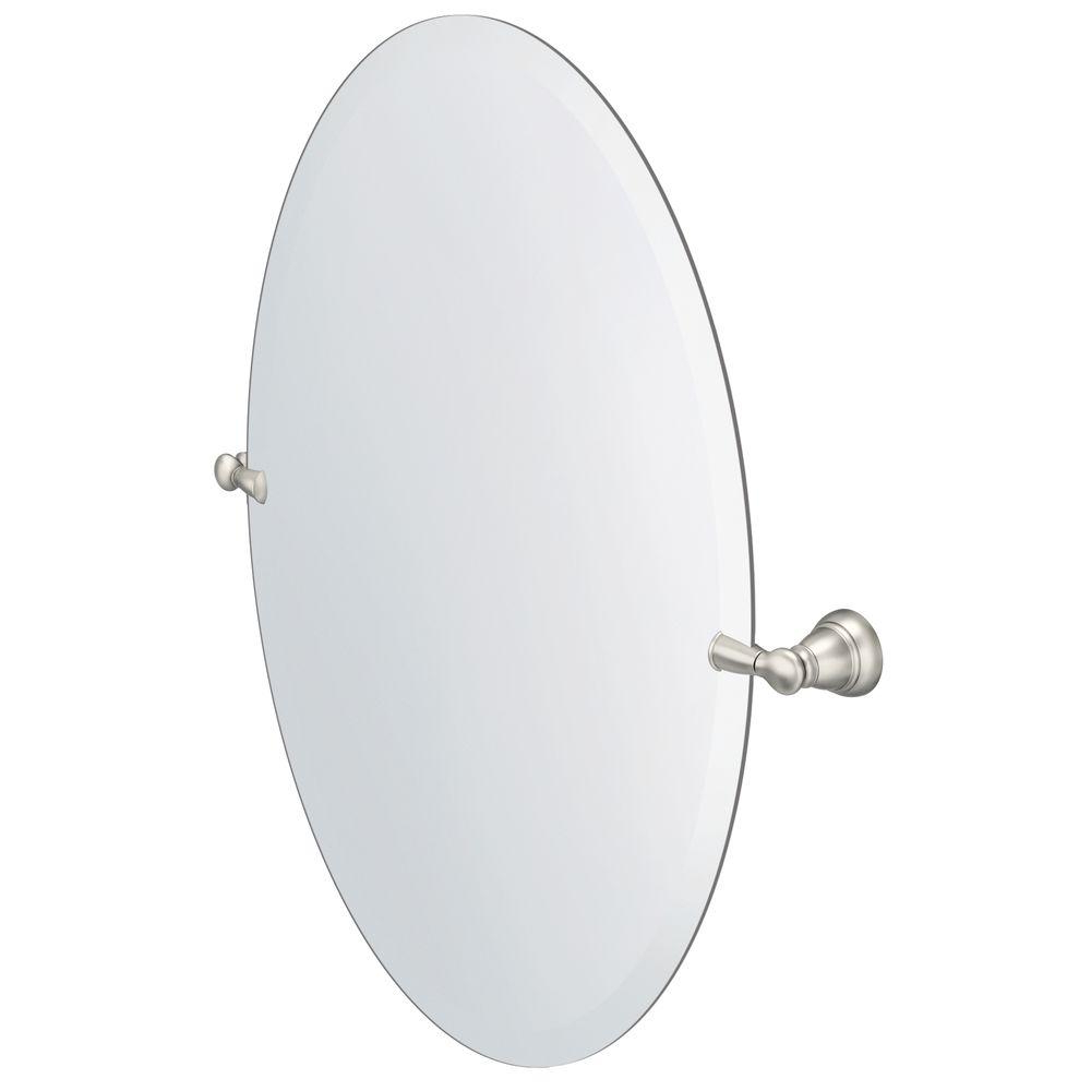 Brushed Nickel Wall Mirrors For Bathroom For Well Liked Moen Banbury 26 In. X 23 In (View 14 of 20)