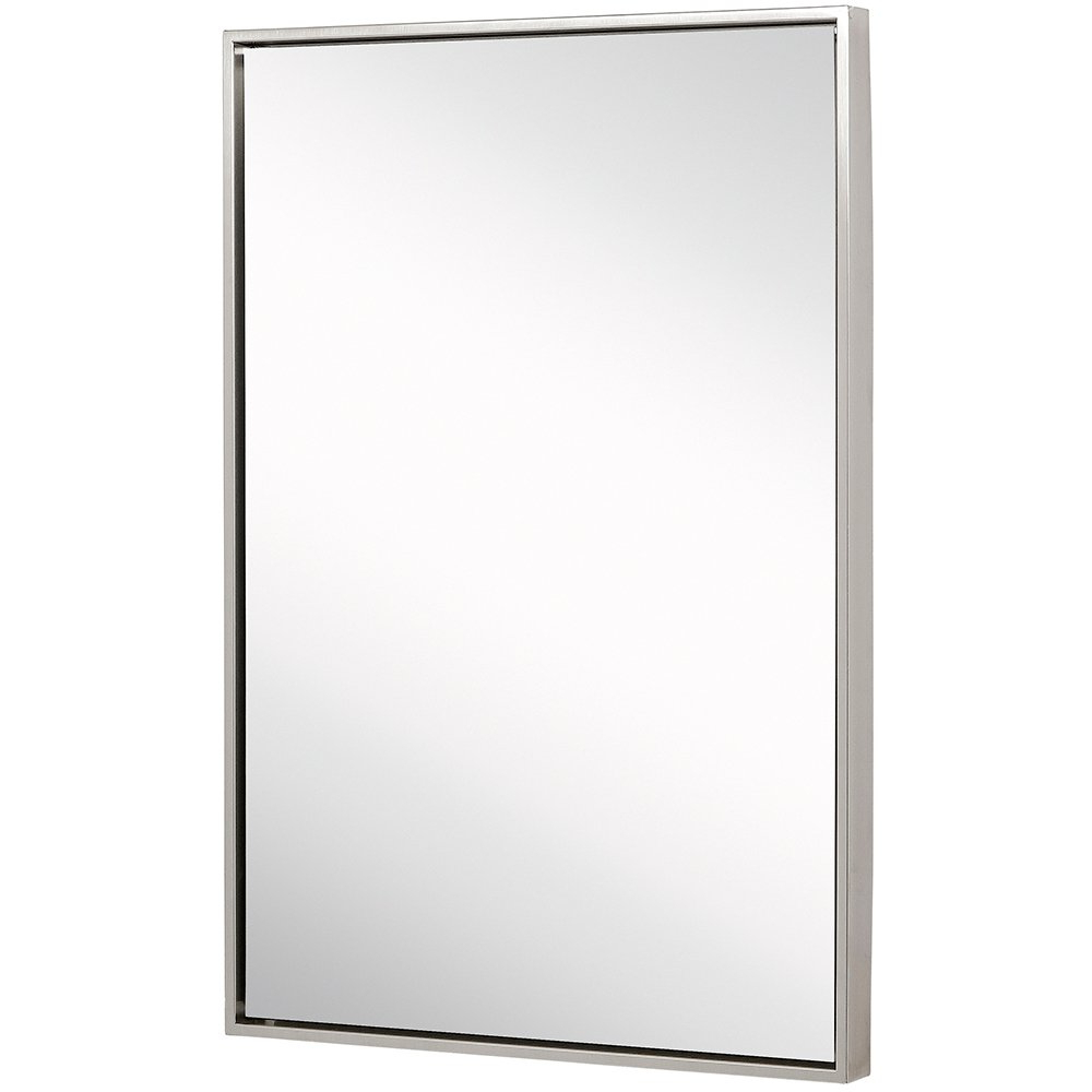 Brushed Nickel Wall Mirrors For Bathroom Intended For Well Known Clean Large Modern Brushed Nickel Frame Wall Mirror (View 20 of 20)