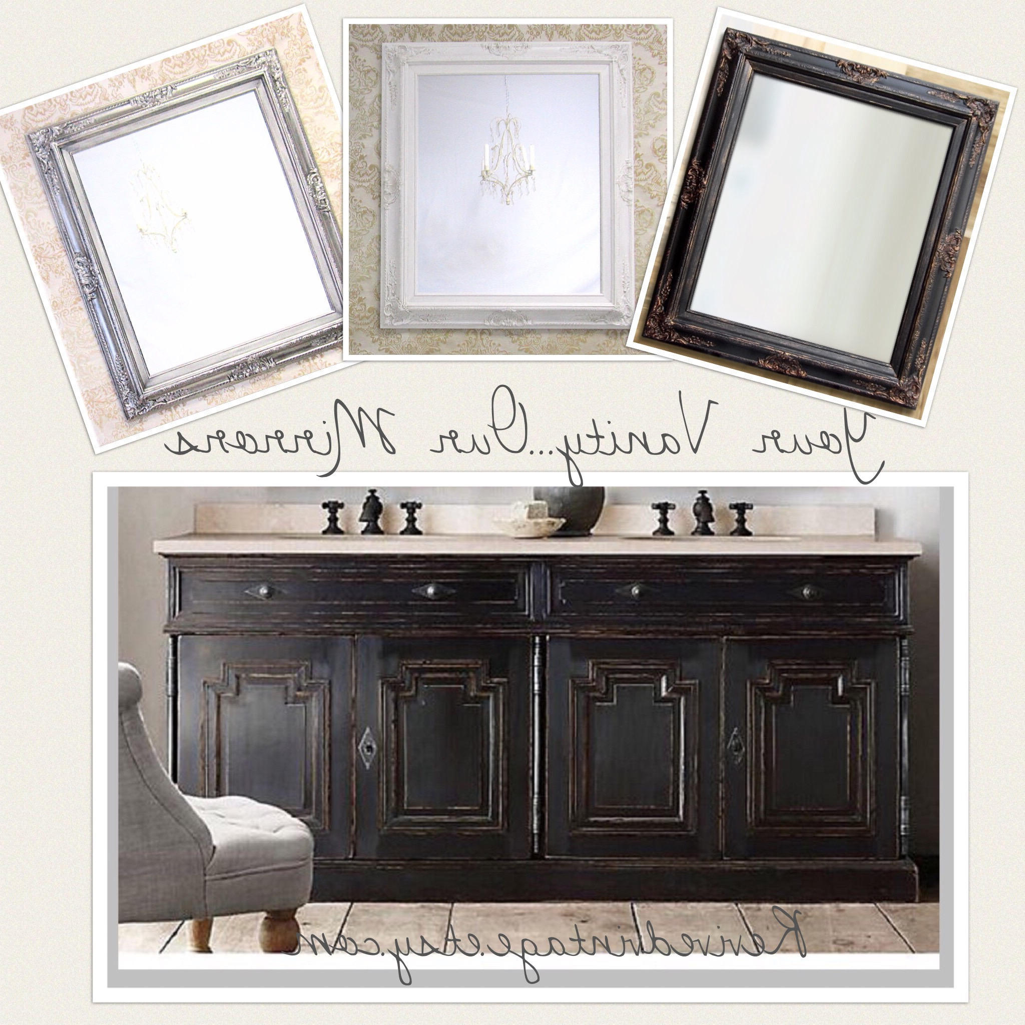 """Brushed Nickel Wall Mirrors For Bathroom With Regard To Favorite Bathroom Mirror Mirrors Brushed Nickel Accents Framed Baroque Bathroom  Vanity Wall Mirror 31""""x27"""" Decorative Ornate Unique Mirror Rectangle (View 19 of 20)"""