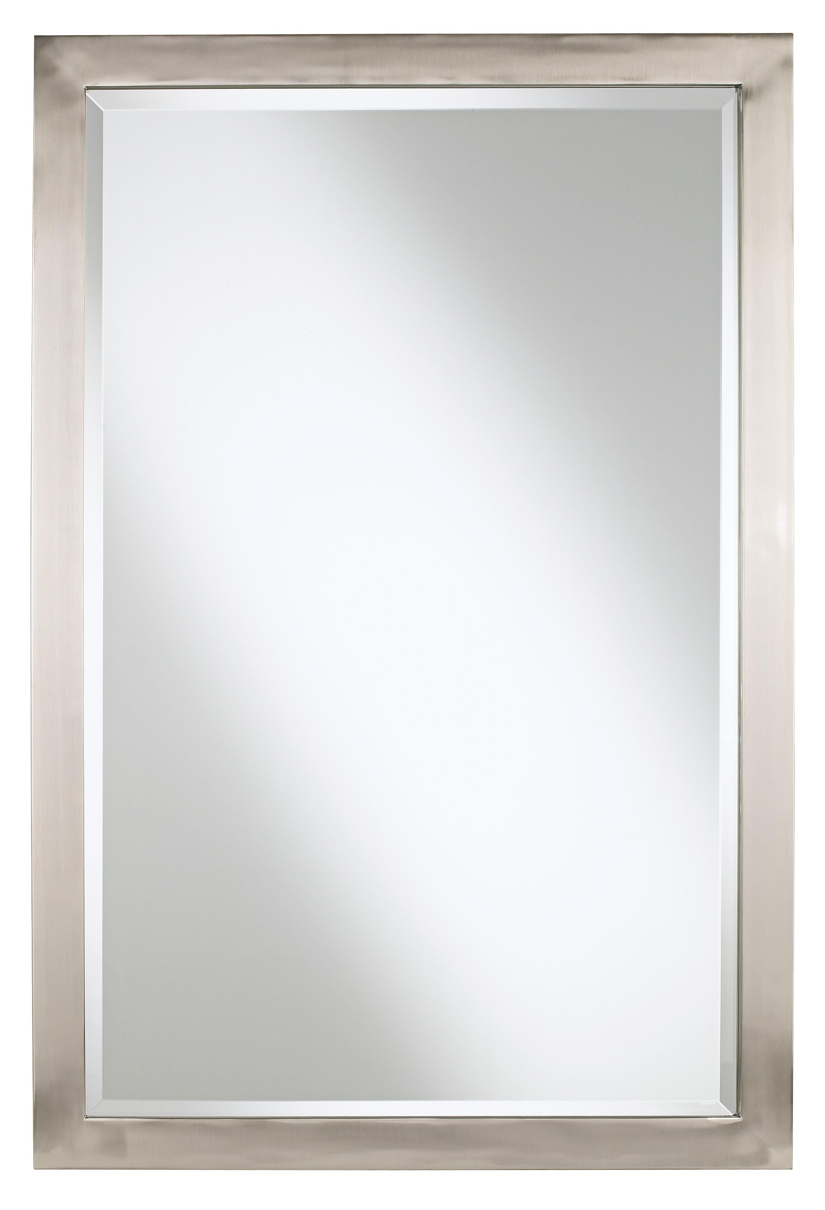 "Brushed Nickel Wall Mirrors For Bathroom With Well Known Possini Euro Metzeo 22"" X 33"" Metal Wall Mirror (View 6 of 20)"