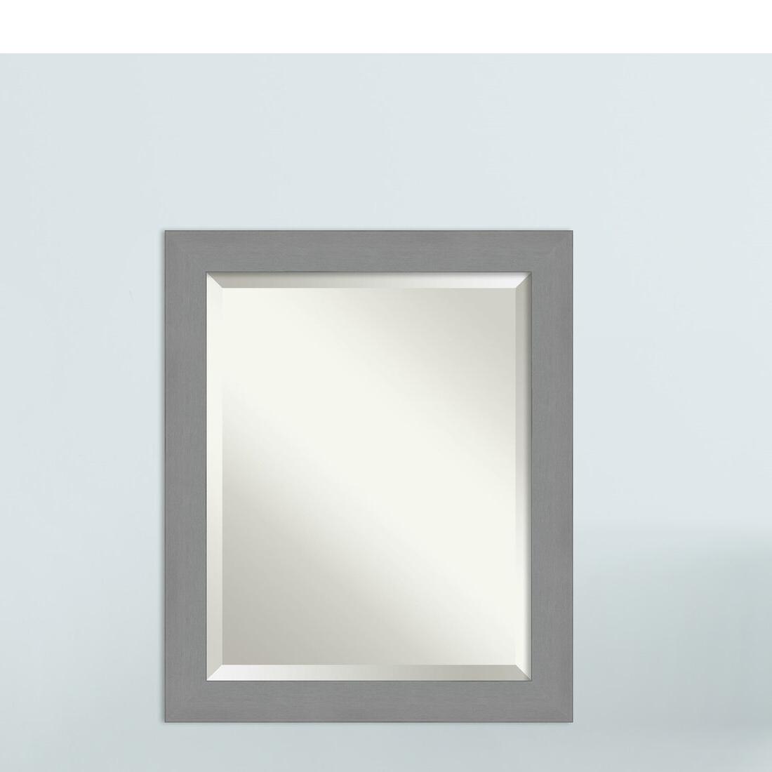 Brushed Nickel Wall Mirrors Regarding 2019 Kallas Brushed Nickel Beveled Wall Mirror (View 3 of 14)