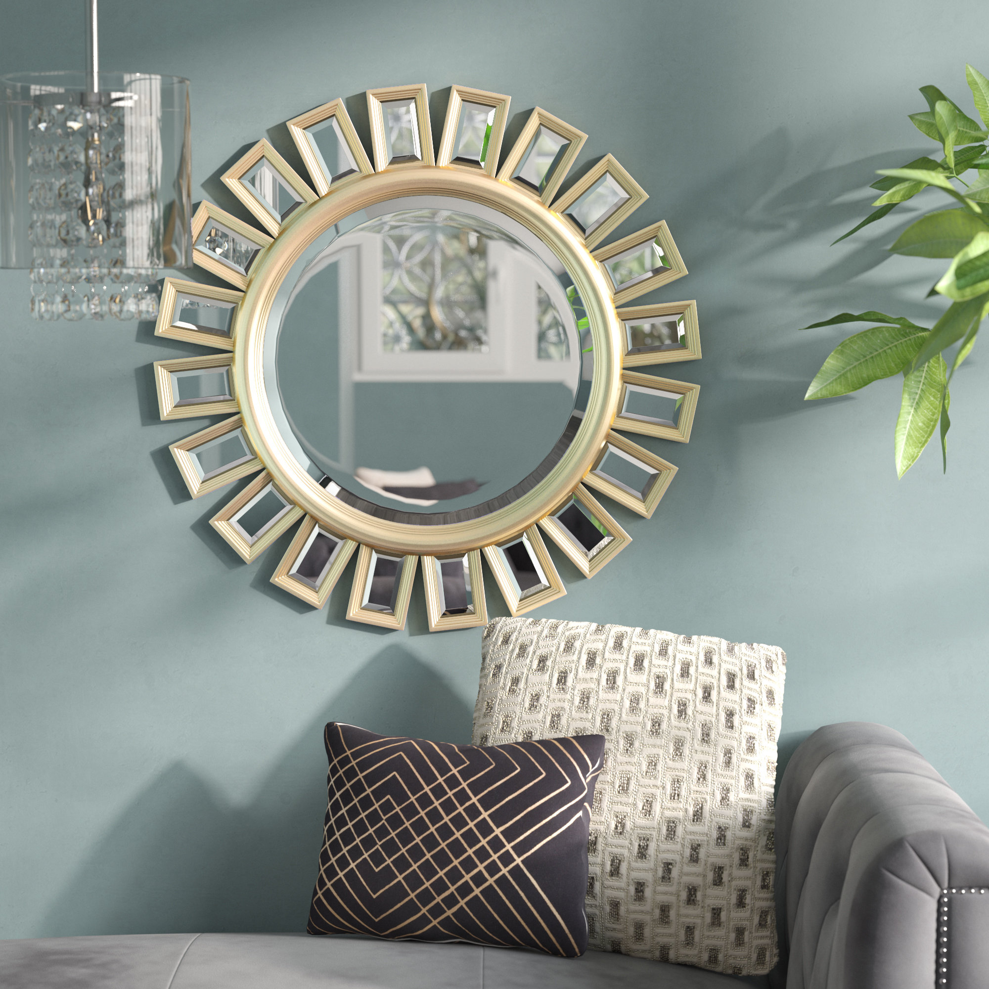 Brylee Traditional Sunburst Mirrors Inside Well Liked Sunburst Beveled Wall Mirror (View 4 of 20)
