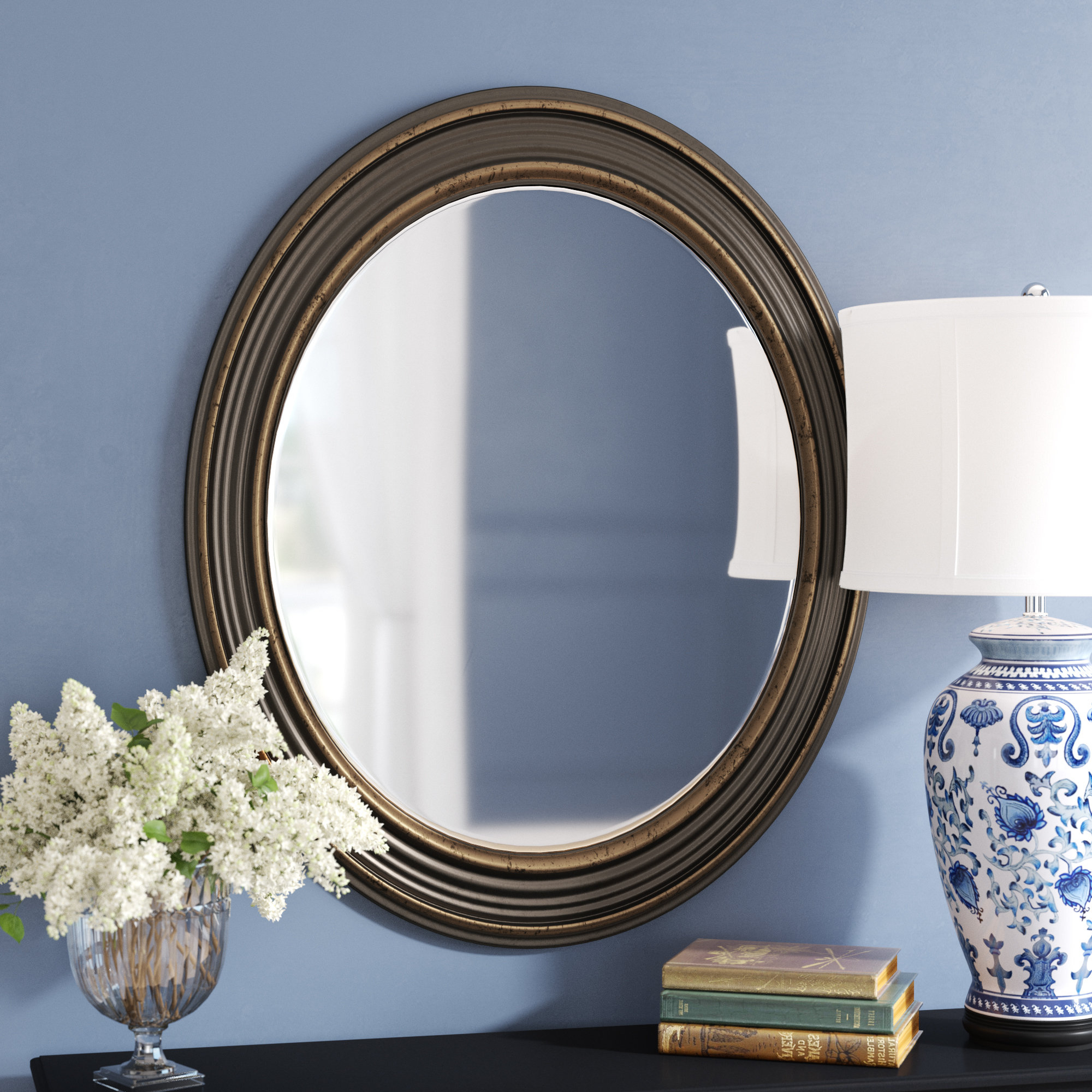 Burnes Oval Traditional Wall Mirror Intended For 2019 Glen View Beaded Oval Traditional Accent Mirrors (View 3 of 20)