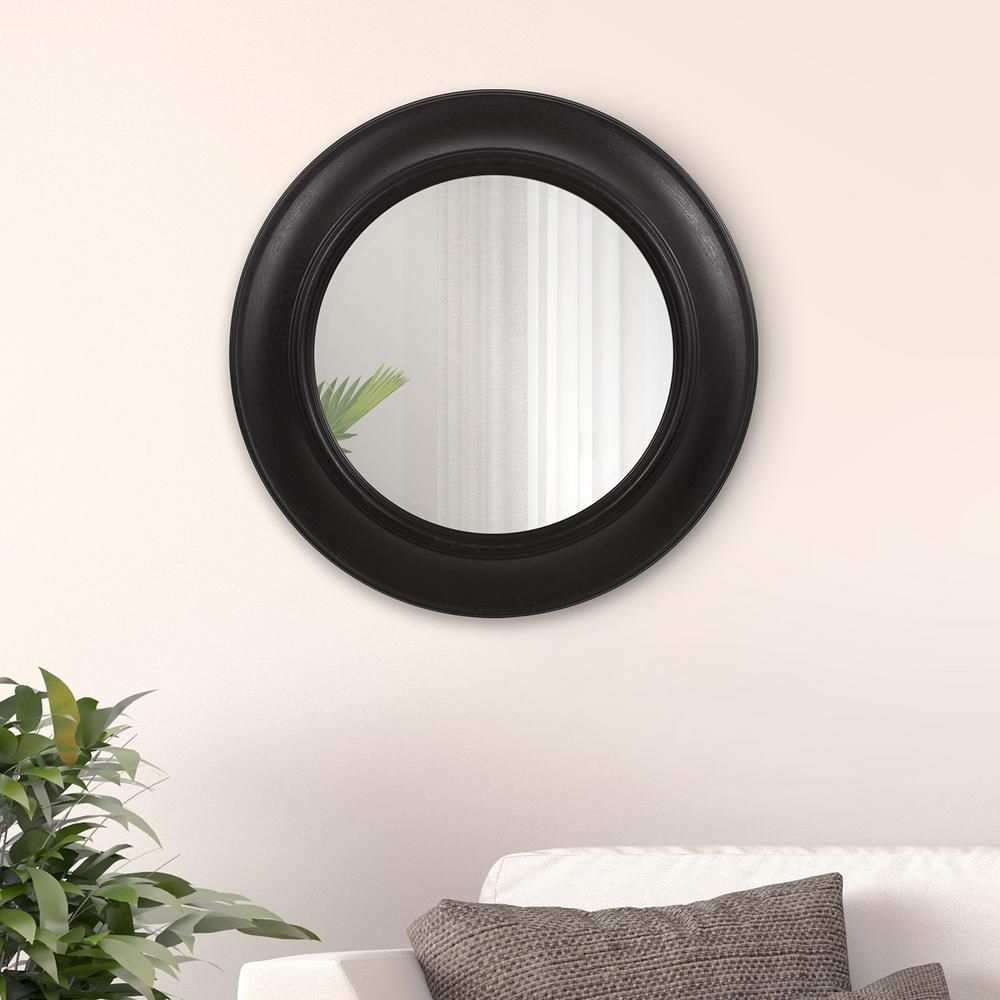 Burnes Oval Traditional Wall Mirrors Regarding Preferred Rustic Distressed Black Round Wall Mirror In (View 12 of 20)