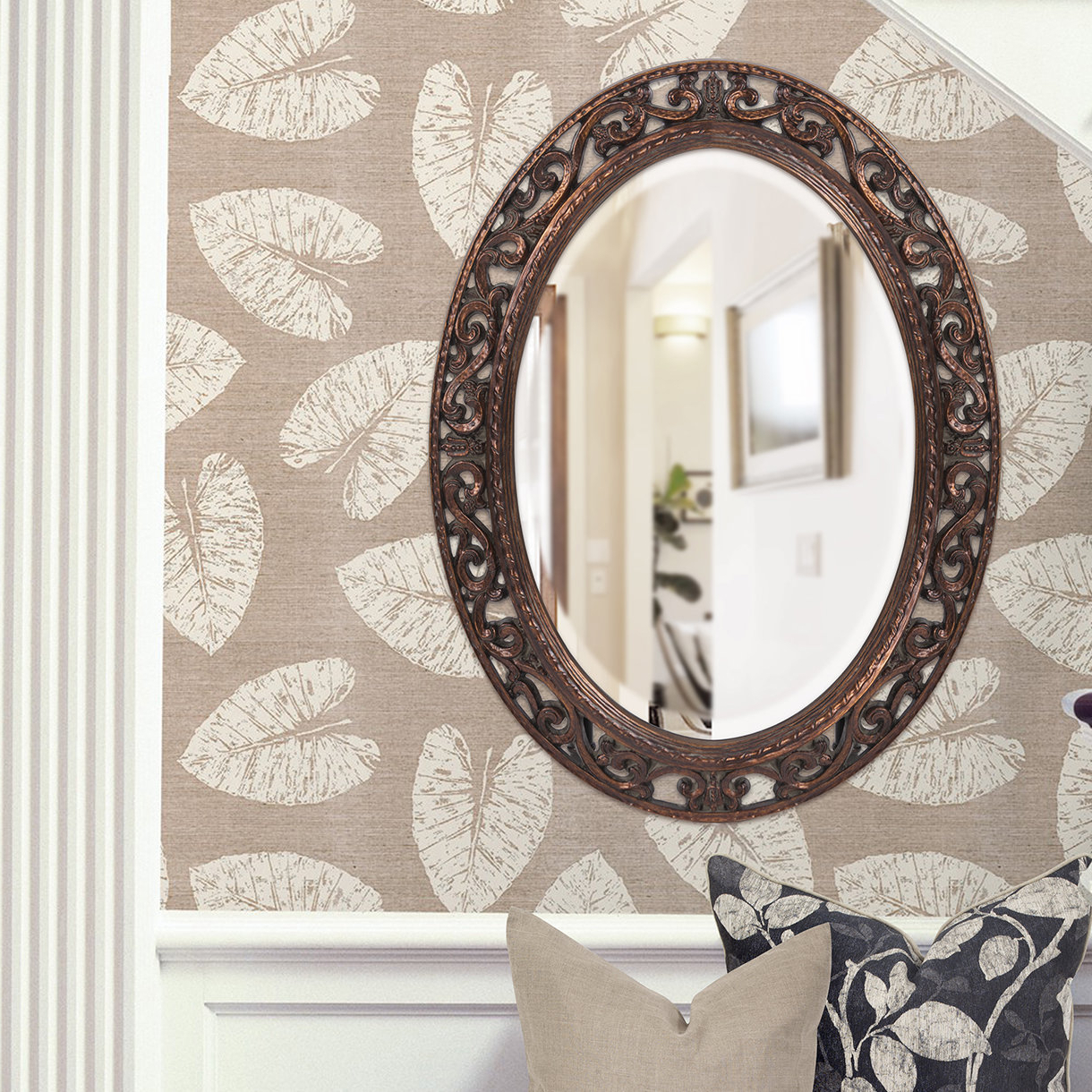 Burnes Oval Traditional Wall Mirrors With Trendy Oval Antique Bronze Wall Mirror (View 11 of 20)