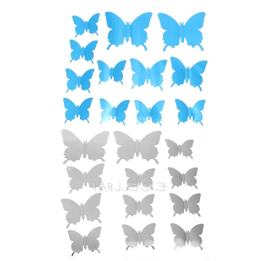 Butterfly Wall Mirrors With Regard To Most Popular Details About 12pcs 3d Mirror Butterfly Wall Stickers Living Room Bedroom  Wall Decor E0xc (View 19 of 20)