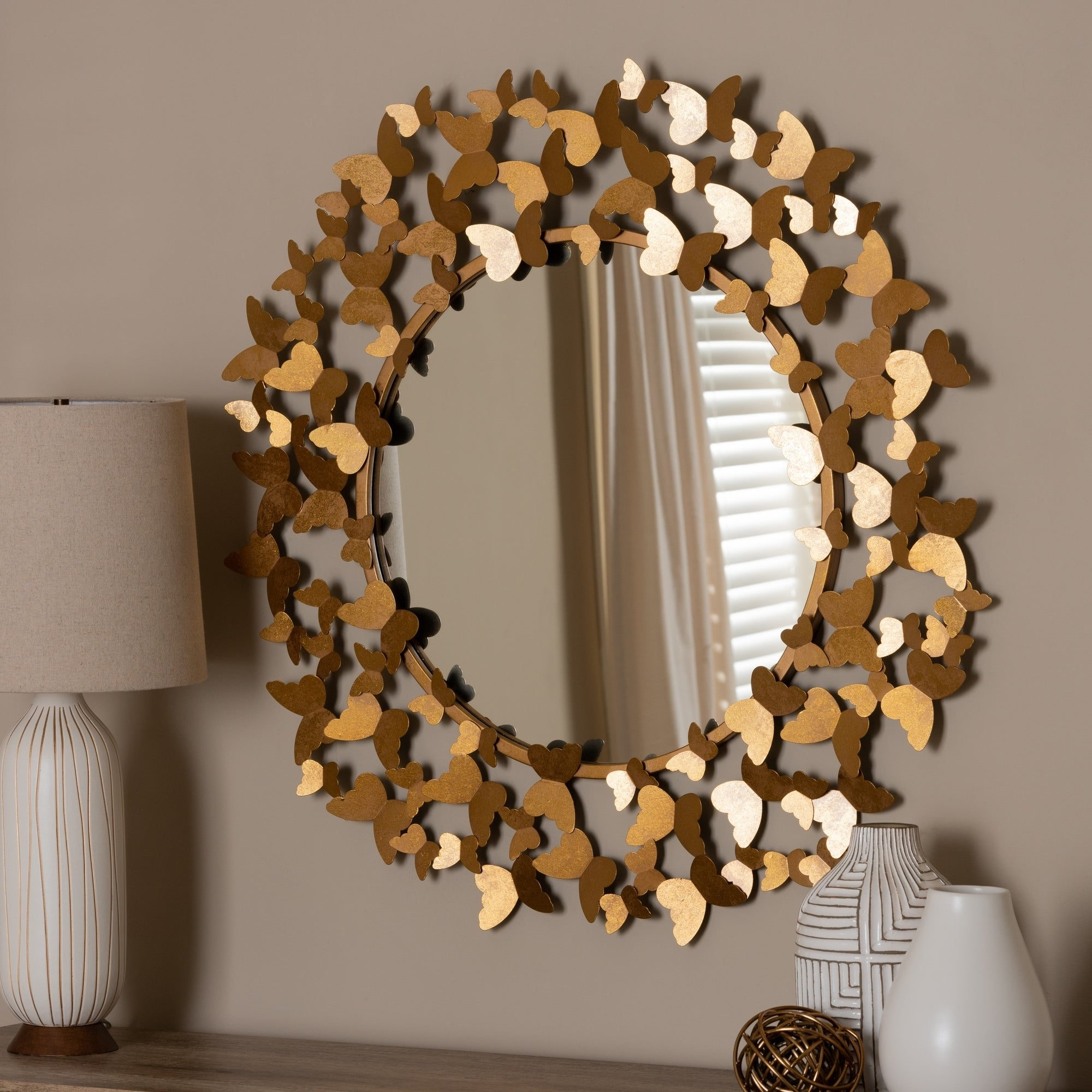 Butterfly Wall Mirrors Within Recent Contemporary Antique Gold Butterfly Wall Mirrorbaxton Studio – Antique  Gold (View 5 of 20)