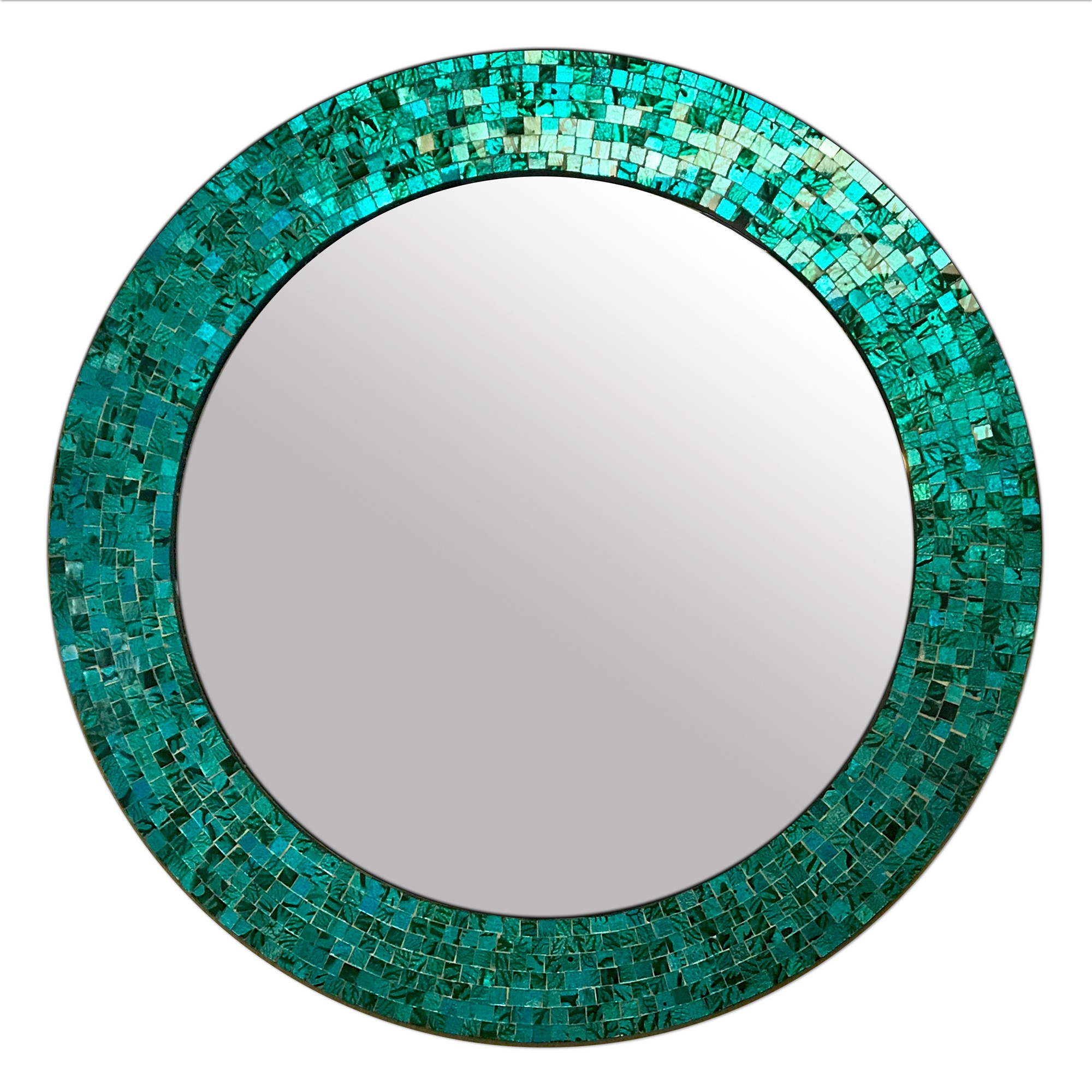 """Buy 24"""" Turquoise Handmade Decorative Glass Mosaic Wall In Fashionable Turquoise Wall Mirrors (View 1 of 20)"""