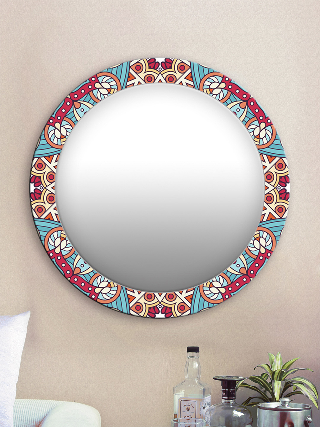 Buy 999Store Unisex Red And Blue Abstract Pattern Round Wall Mirror Inside Popular Abstract Wall Mirrors (View 7 of 20)