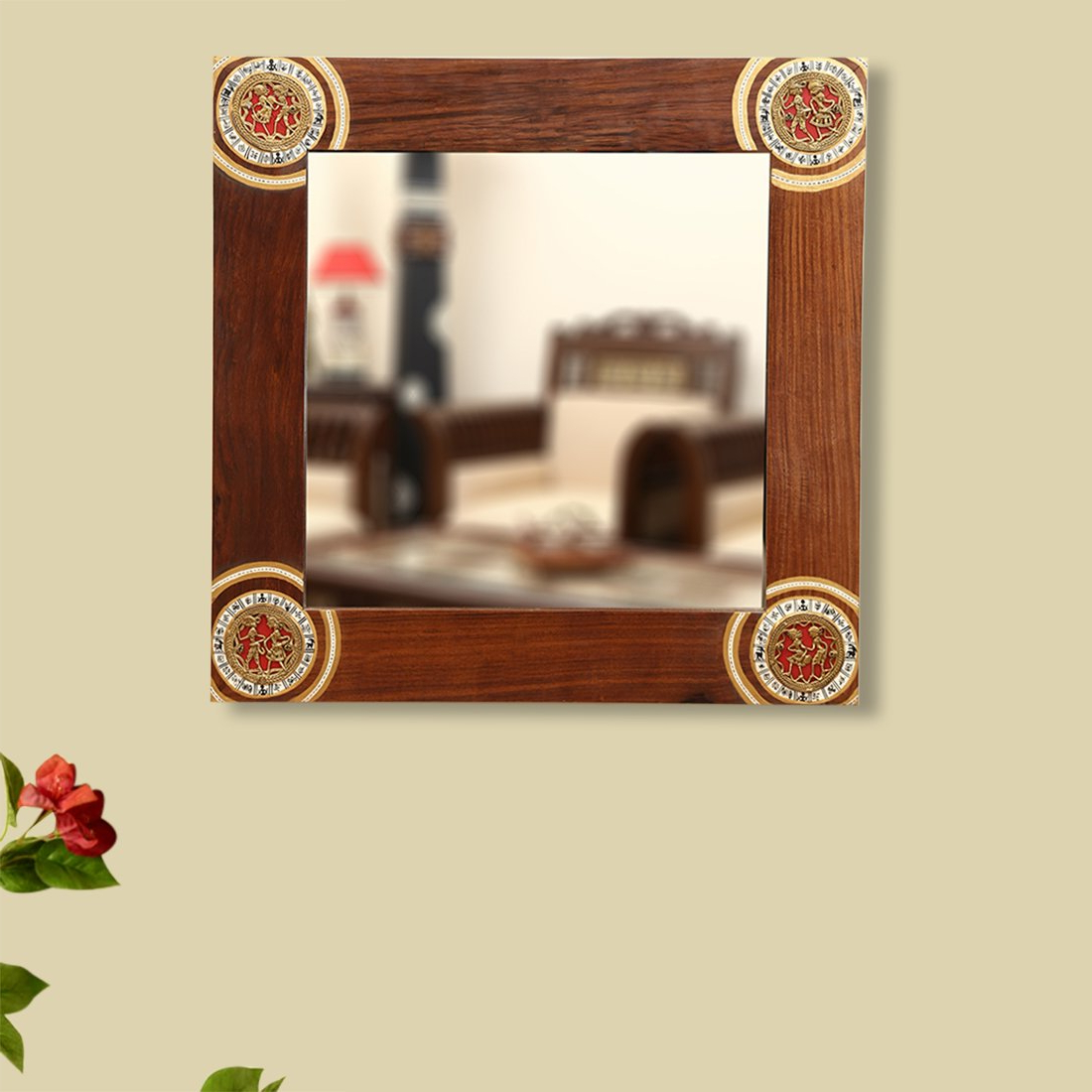 Buy Exclusivelane Square Ethnic Wall Mirror With Warli & Dhokra Art With Favorite Ethnic Wall Mirrors (View 2 of 20)