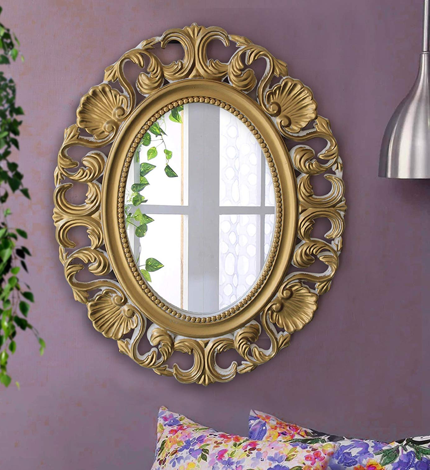 Buy Tied Ribbons Antique Vintage Style Plastic Wall Mirror (38 Cm X Inside Popular Plastic Wall Mirrors (View 3 of 20)