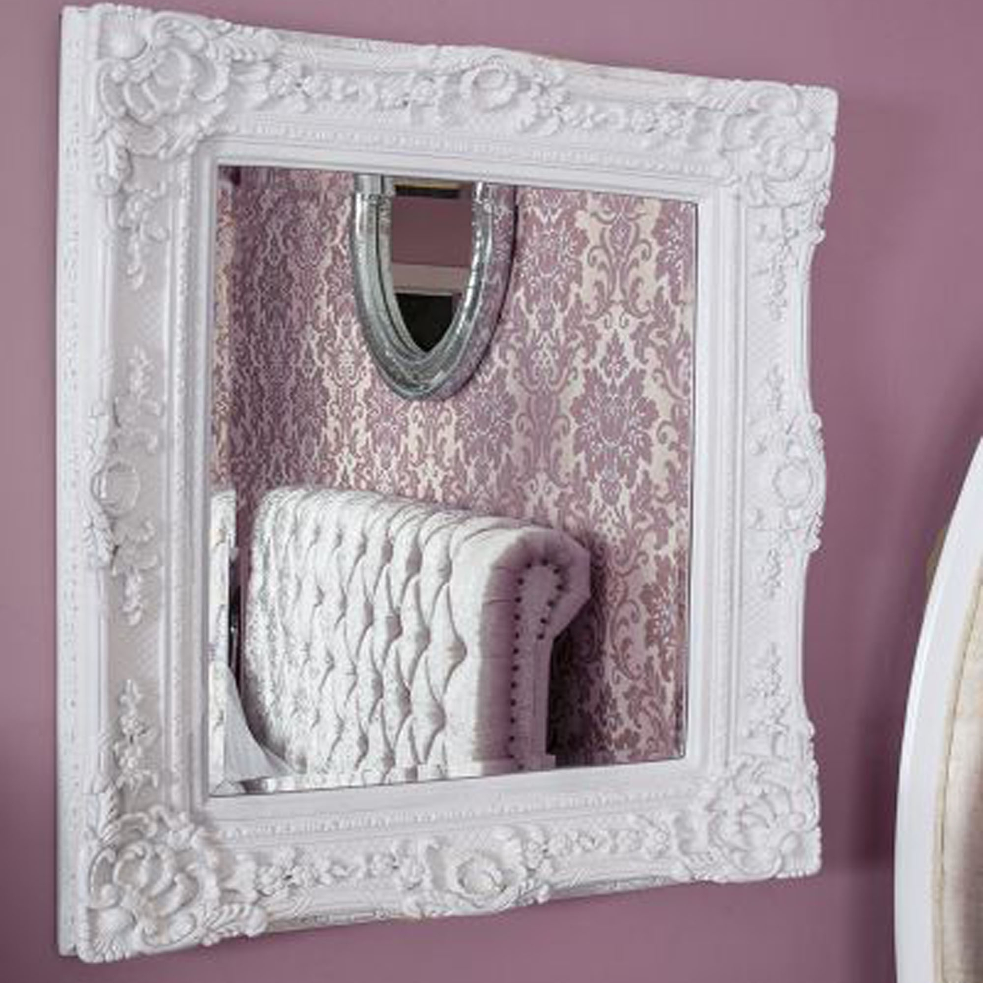 Caens White Decorative Mirror With Regard To Popular White Decorative Wall Mirrors (View 2 of 20)