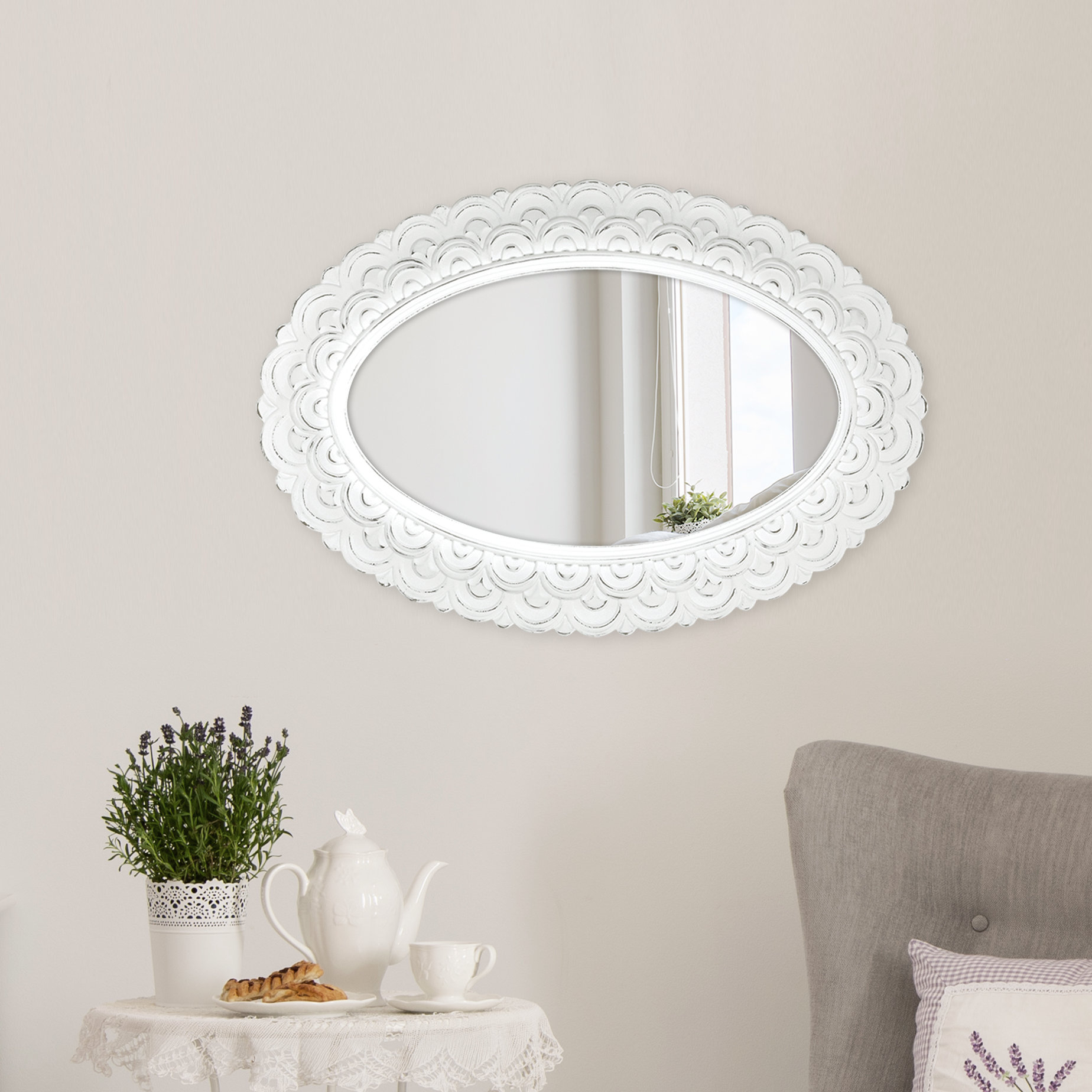 Carballo Oval Wall Accent Mirror In Latest Sajish Oval Crystal Wall Mirrors (View 9 of 20)