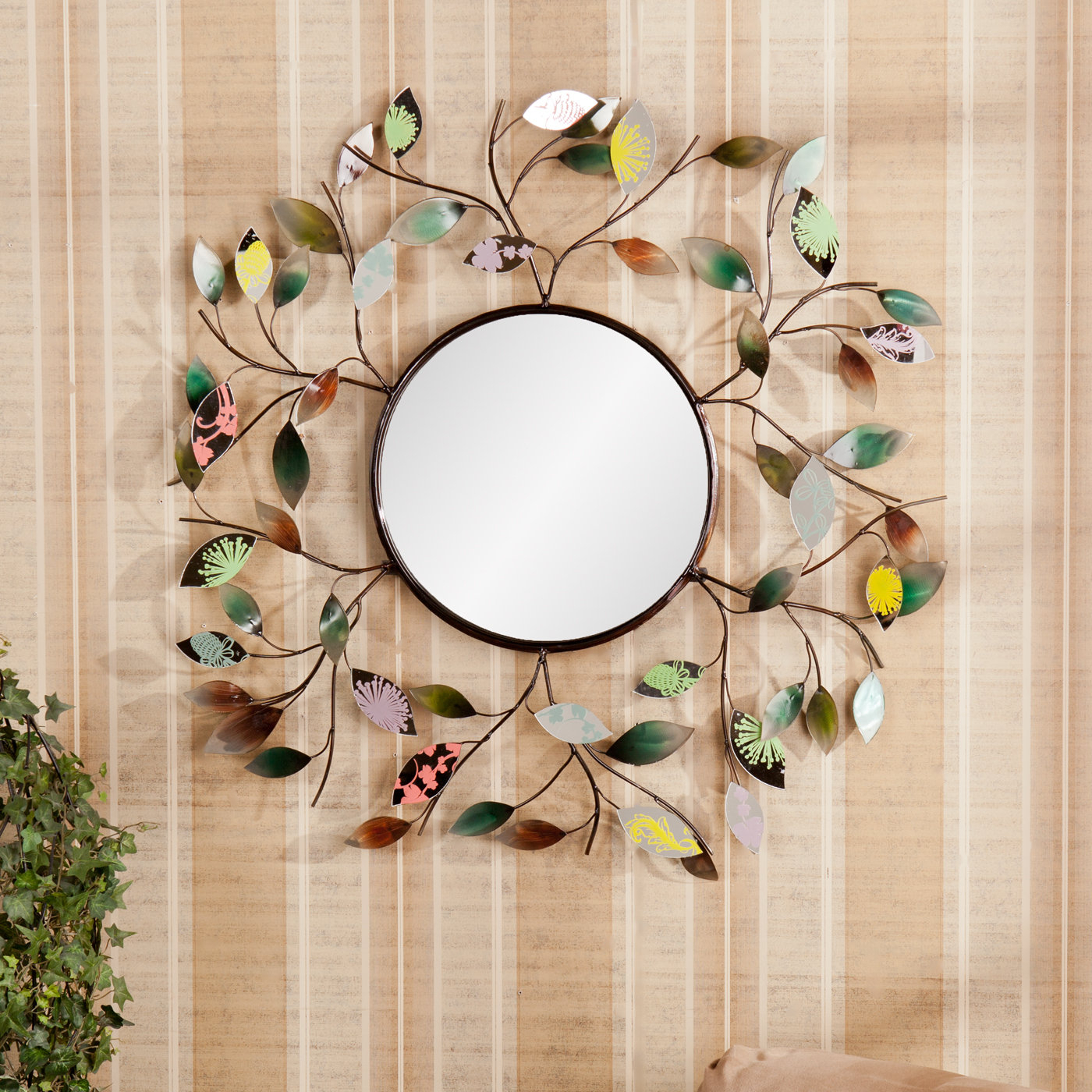 Carstens Sunburst Leaves Wall Mirrors For Most Current Decorative Metallic Leaf Wall Mirror (View 2 of 20)