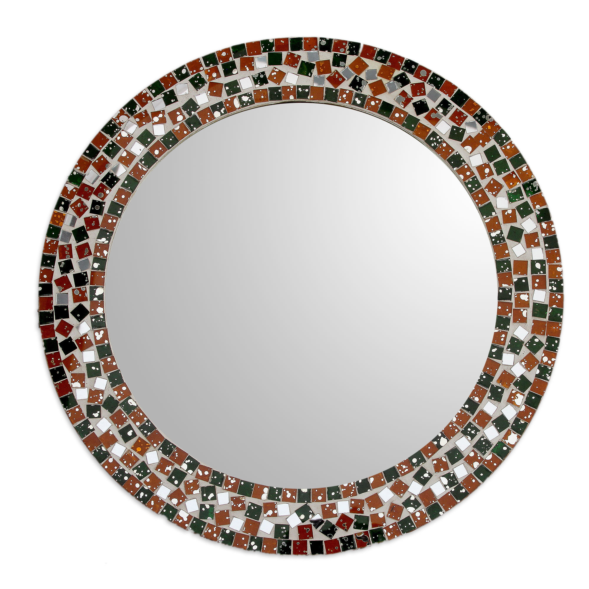 Carstens Sunburst Leaves Wall Mirrors With Famous Novica Forest Mosaic Artisan Crafted Round Wall Mirror (View 13 of 20)