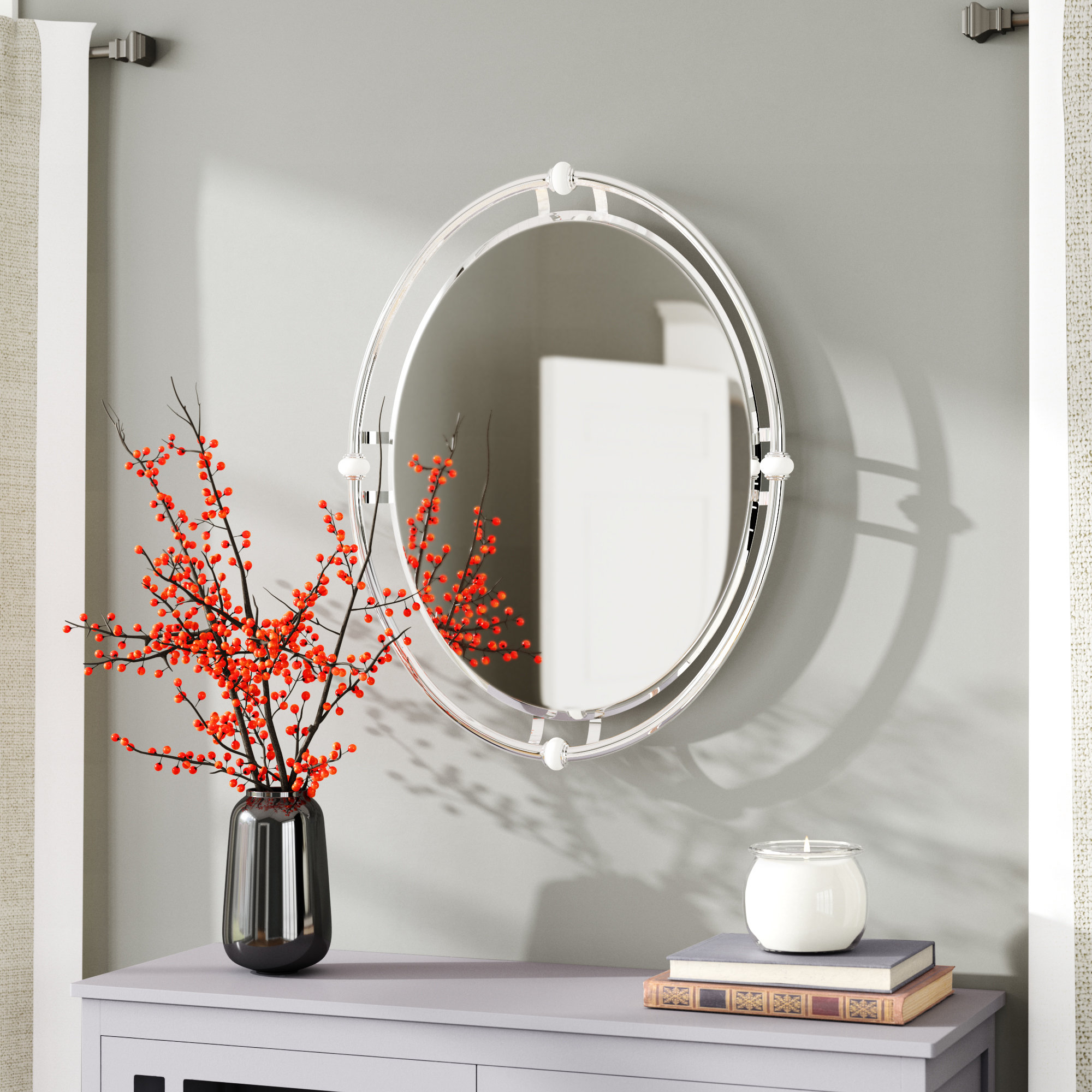 Carylon Oval Modern & Contemporary Beveled Bathroom / Vanity Mirror Regarding 2020 Thornbury Oval Bevel Frameless Wall Mirrors (View 1 of 20)