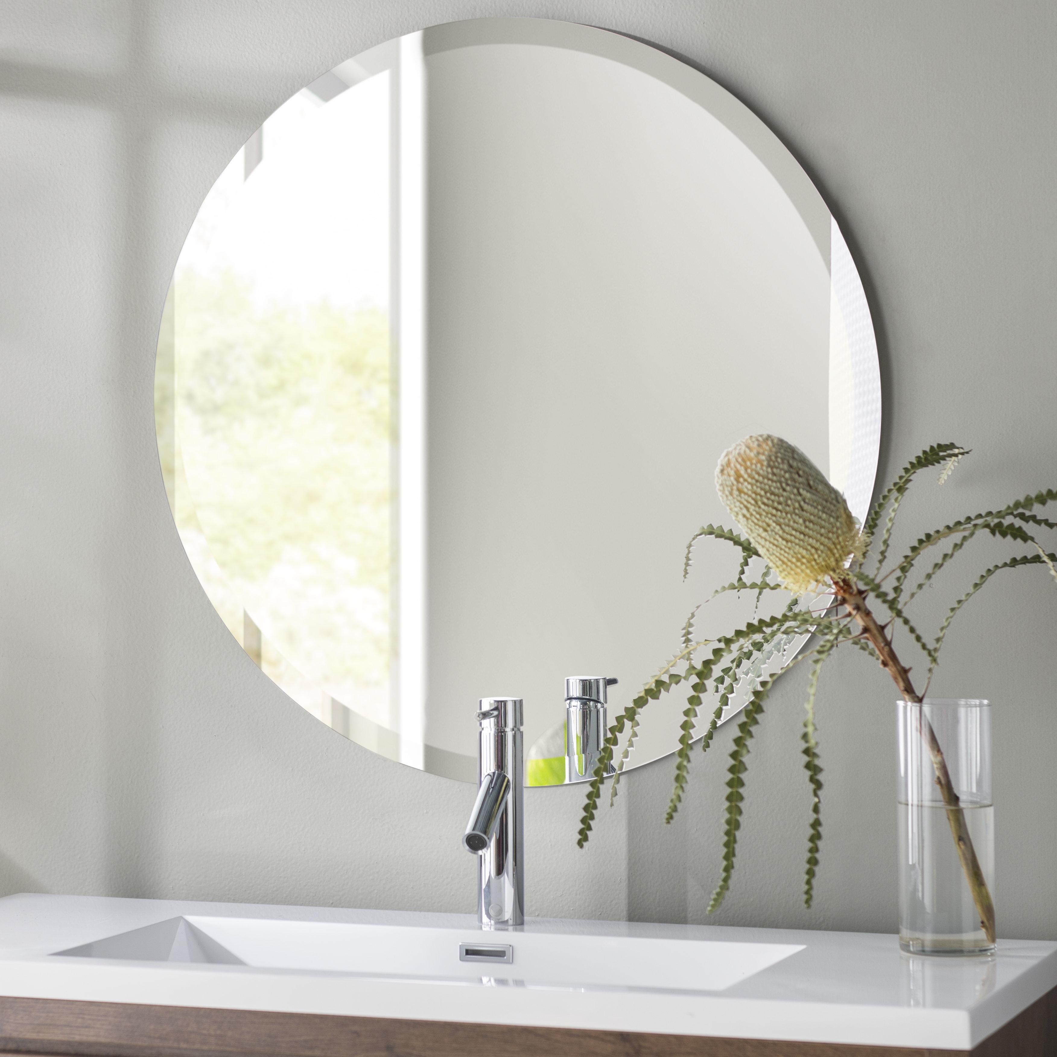 Celeste Frameless Round Wall Mirrors In Best And Newest Valdosta Frameless Round Wall Mirror (View 3 of 20)