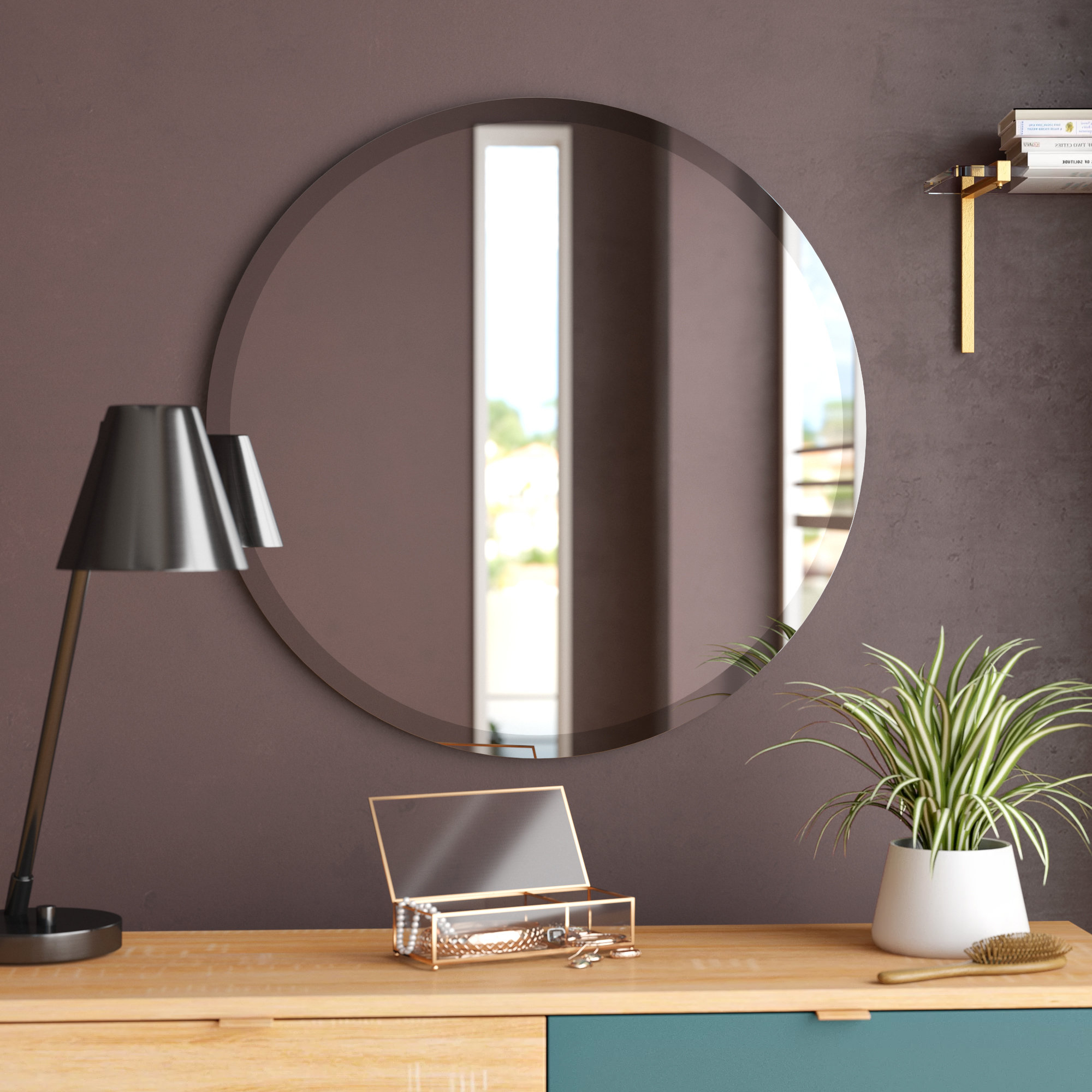 Celeste Frameless Round Wall Mirrors Intended For Well Known Langley Street Valdosta Frameless Round Wall Mirror (View 11 of 20)