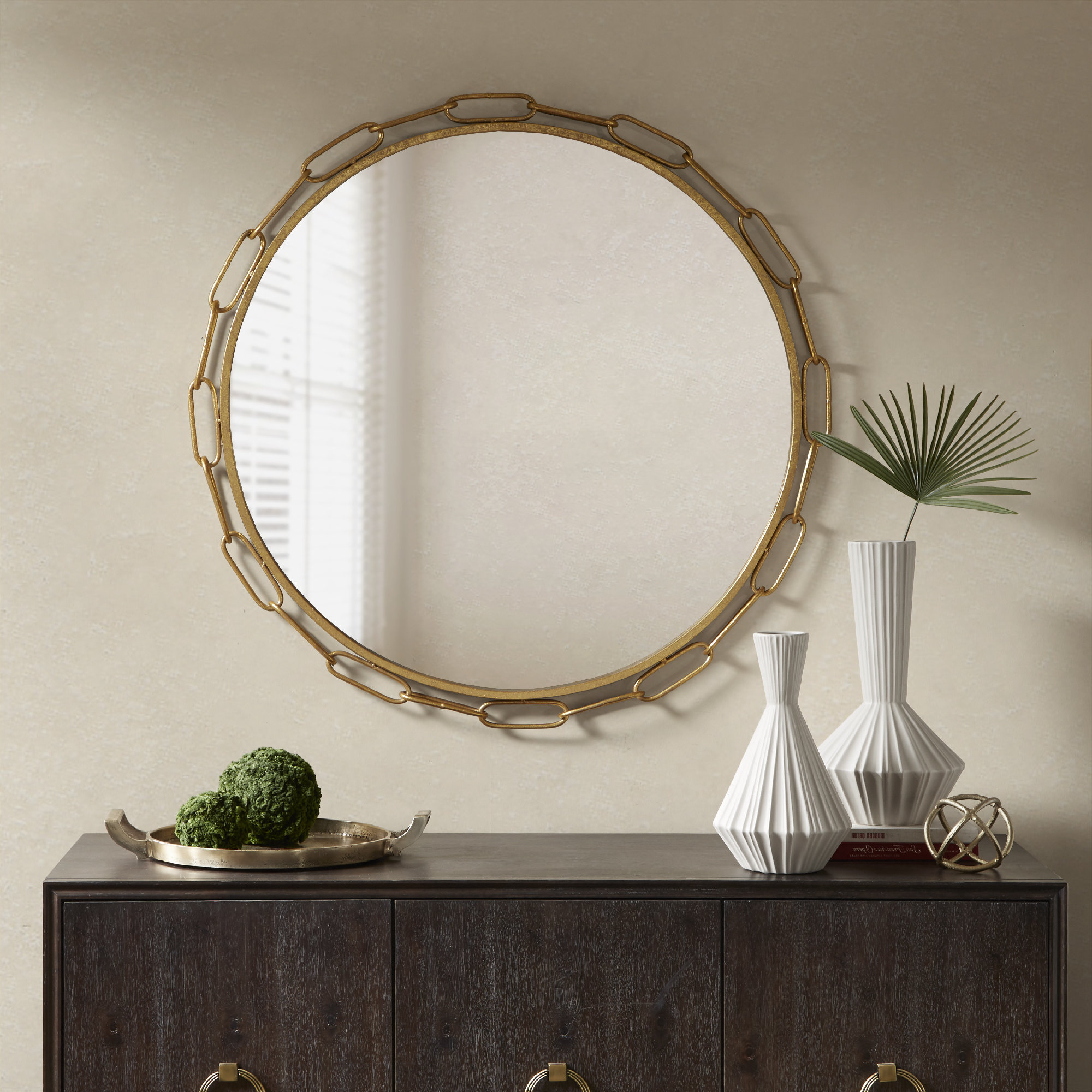 Chainlink Modern & Contemporary Accent Mirror For Famous Yedinak Modern Distressed Accent Mirrors (View 9 of 20)