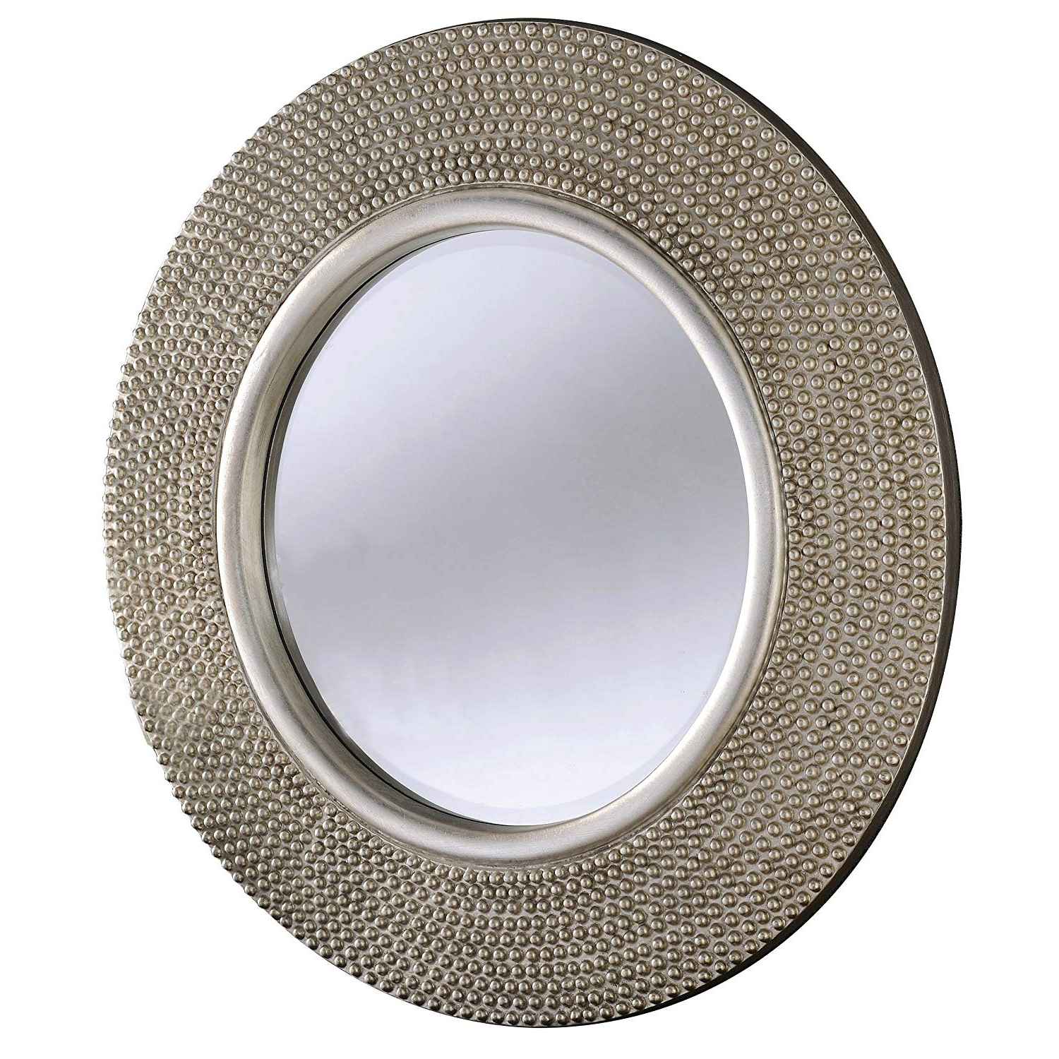 """Champagne Wall Mirrors Inside Widely Used Barcelona Trading Rome Large Round New Wall Mirror Modern Light Champagne  Silver Frame 31"""" Diam (View 17 of 20)"""