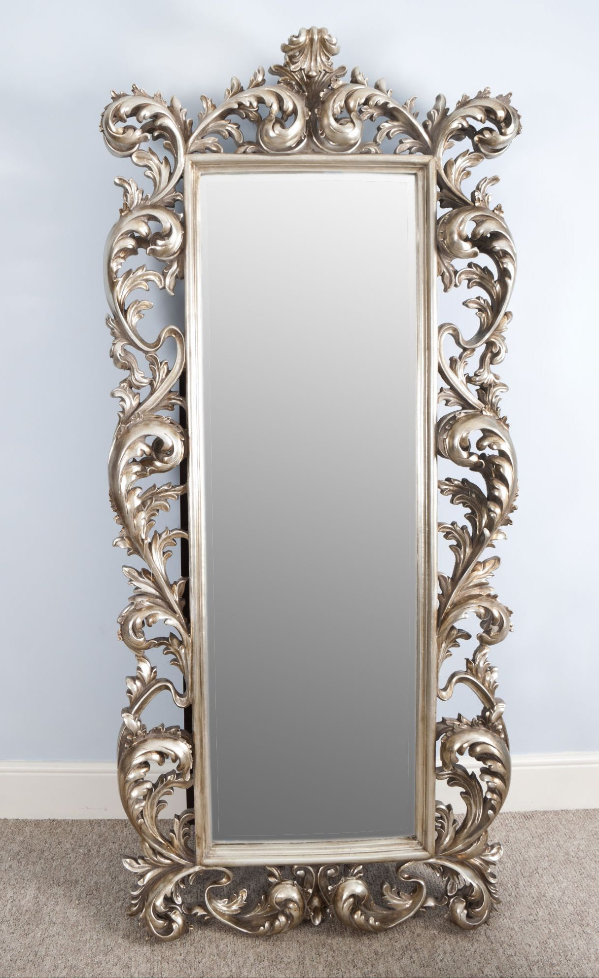 Chateau Silver Rococo Antique Style Cheval Large Rectangular Mirror Inside Famous Long Rectangular Wall Mirrors (View 2 of 20)