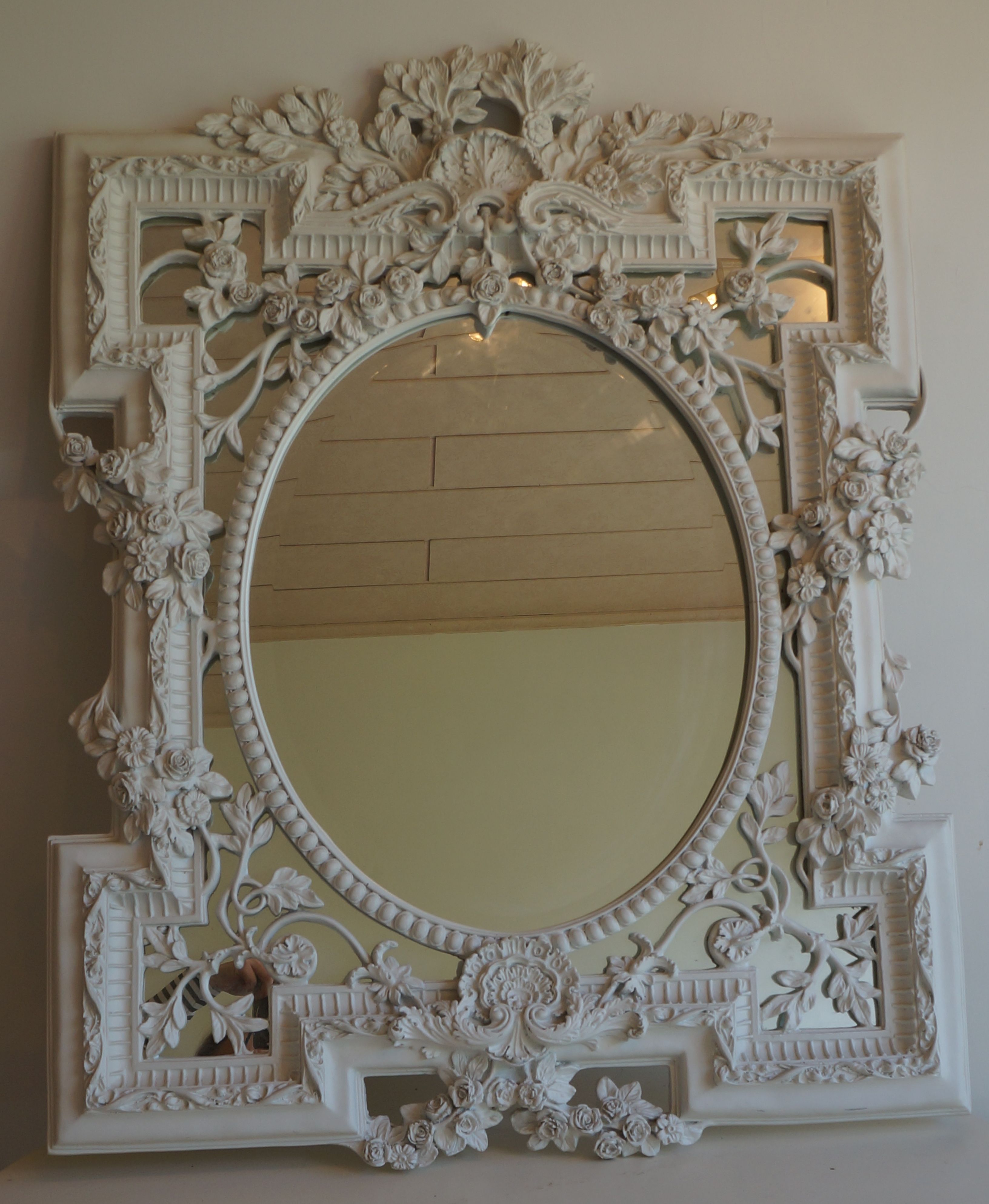 Cheap Large Wall Mirrors Within Famous Shabbychic White Painted Ornate Relief Decorative Large Wall (View 9 of 20)
