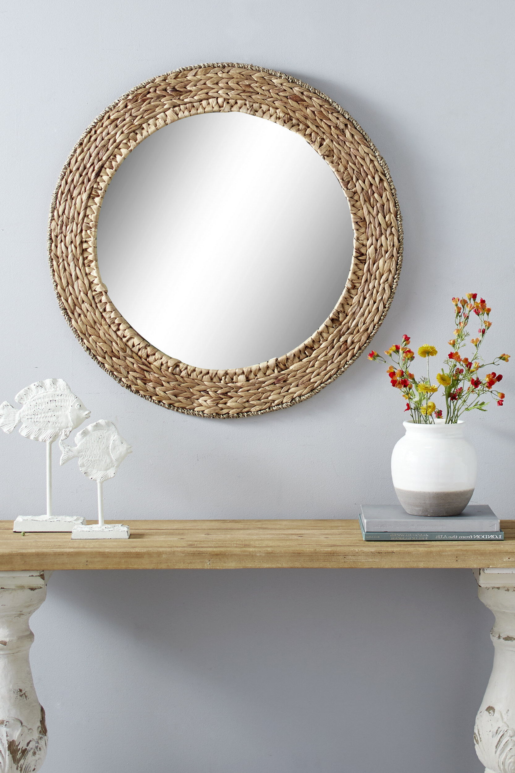 Chiara Round Handmade Wicker Rustic Accent Mirror Regarding Current Traditional/coastal Accent Mirrors (View 9 of 20)