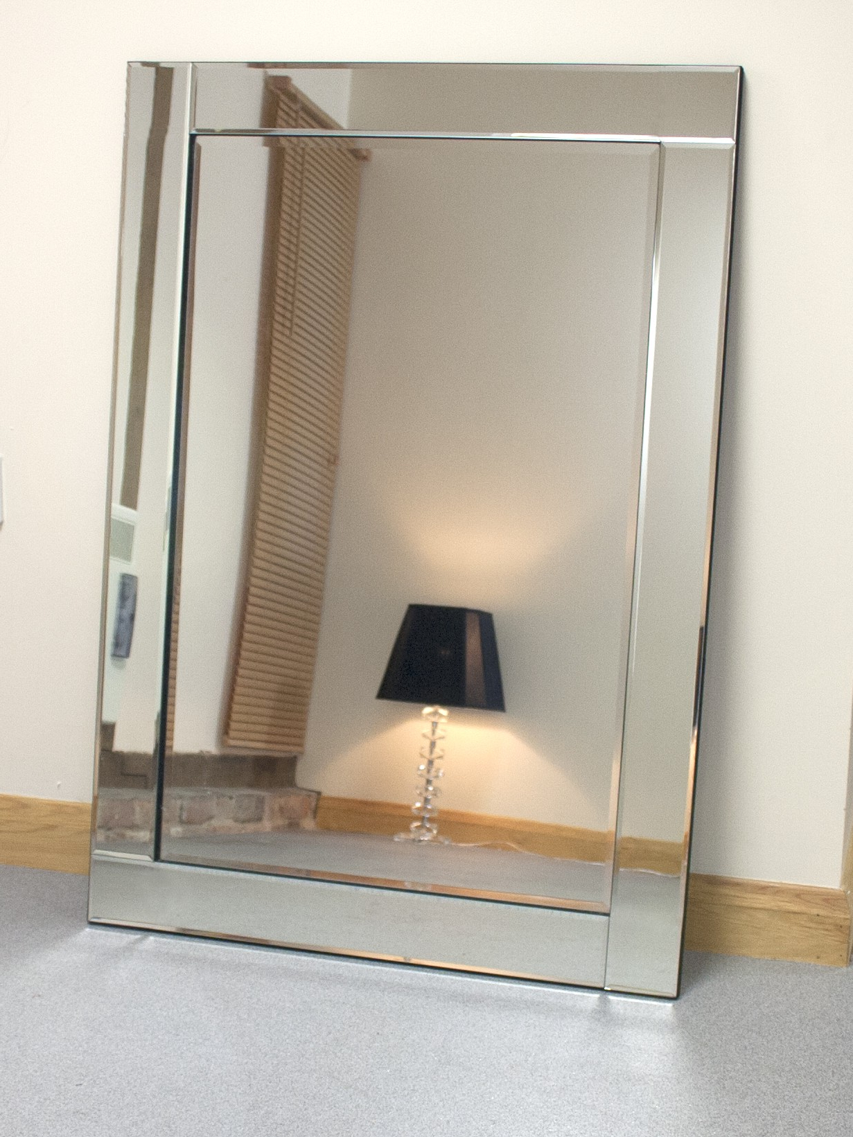 "Chloe Large Silver Glass Framed Rectangle Bevelled Wall Mirror 48"" X With 2020 X Large Wall Mirrors (View 3 of 20)"