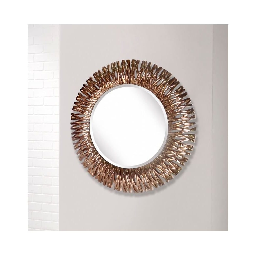 Chrome Wall Mirrors Within 2020 Detailed Chrome Copper Round Wall Mirror (View 13 of 20)