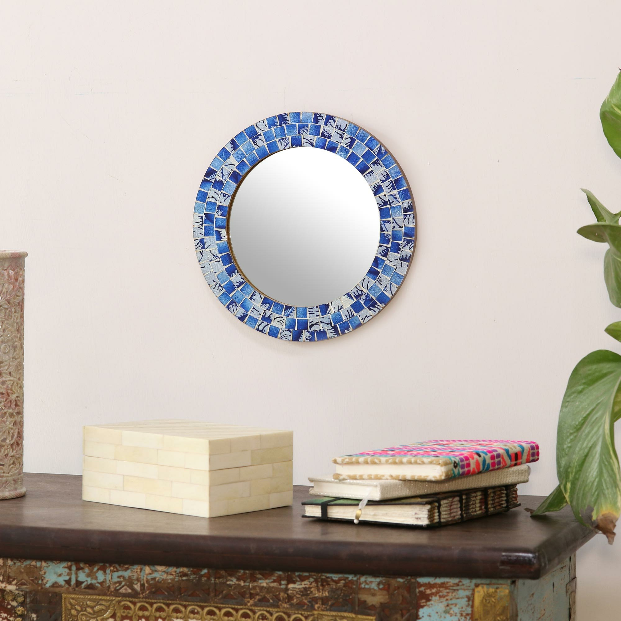 Chumasero Tropical Ocean Glass Mosaic Wall Mirror In Most Popular Tropical Wall Mirrors (View 10 of 20)