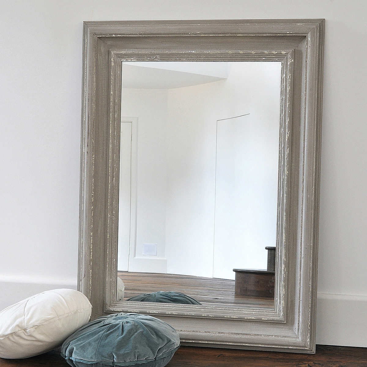 Chunky Antique Grey Wooden Wall Mirror Intended For Well Known Painted Wall Mirrors (View 4 of 20)