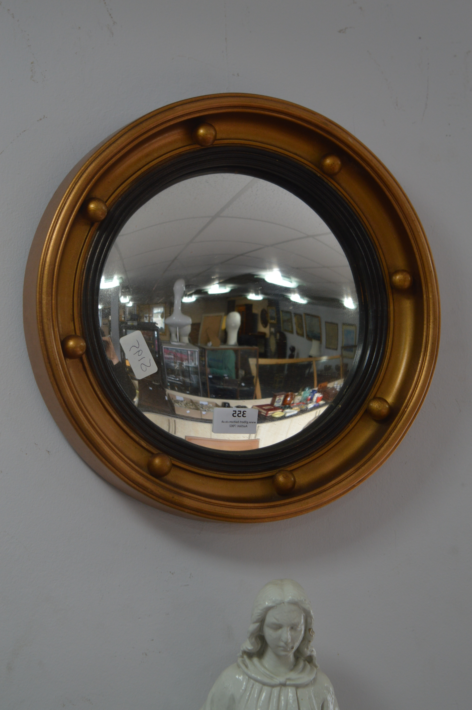 Circular Gilt Framed Convex Wall Mirror Throughout Well Known Gilbert Wall Mirrors (View 12 of 20)