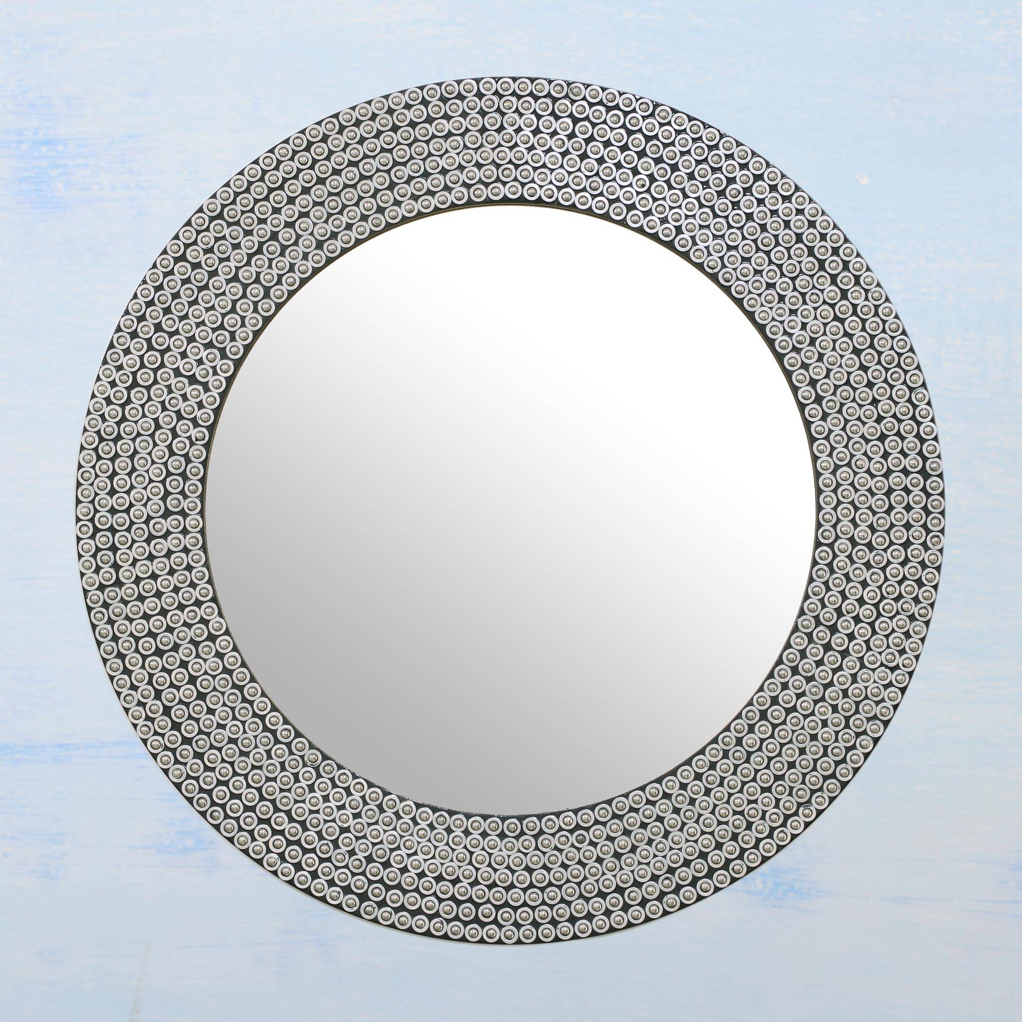 Circular Shimmering Metal Wall Mirror From India, 'silvery Shine' Within 2019 Round Galvanized Metallic Wall Mirrors (View 6 of 20)