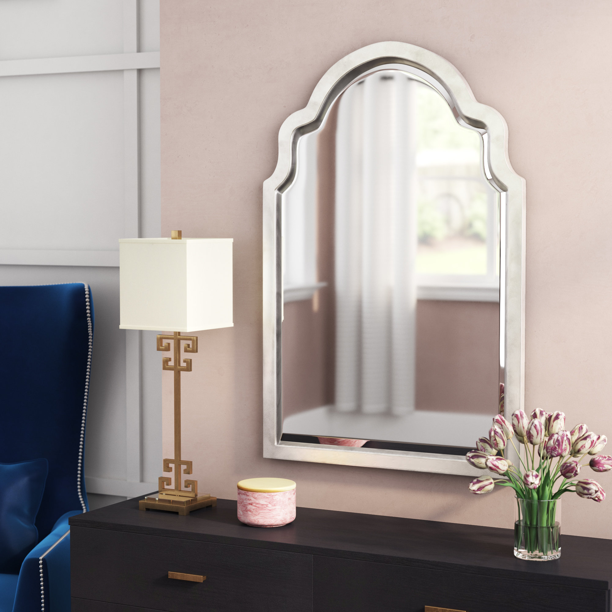 Clariandra Silver Arched Wall Mirror Intended For Current Fifi Contemporary Arch Wall Mirrors (View 4 of 20)