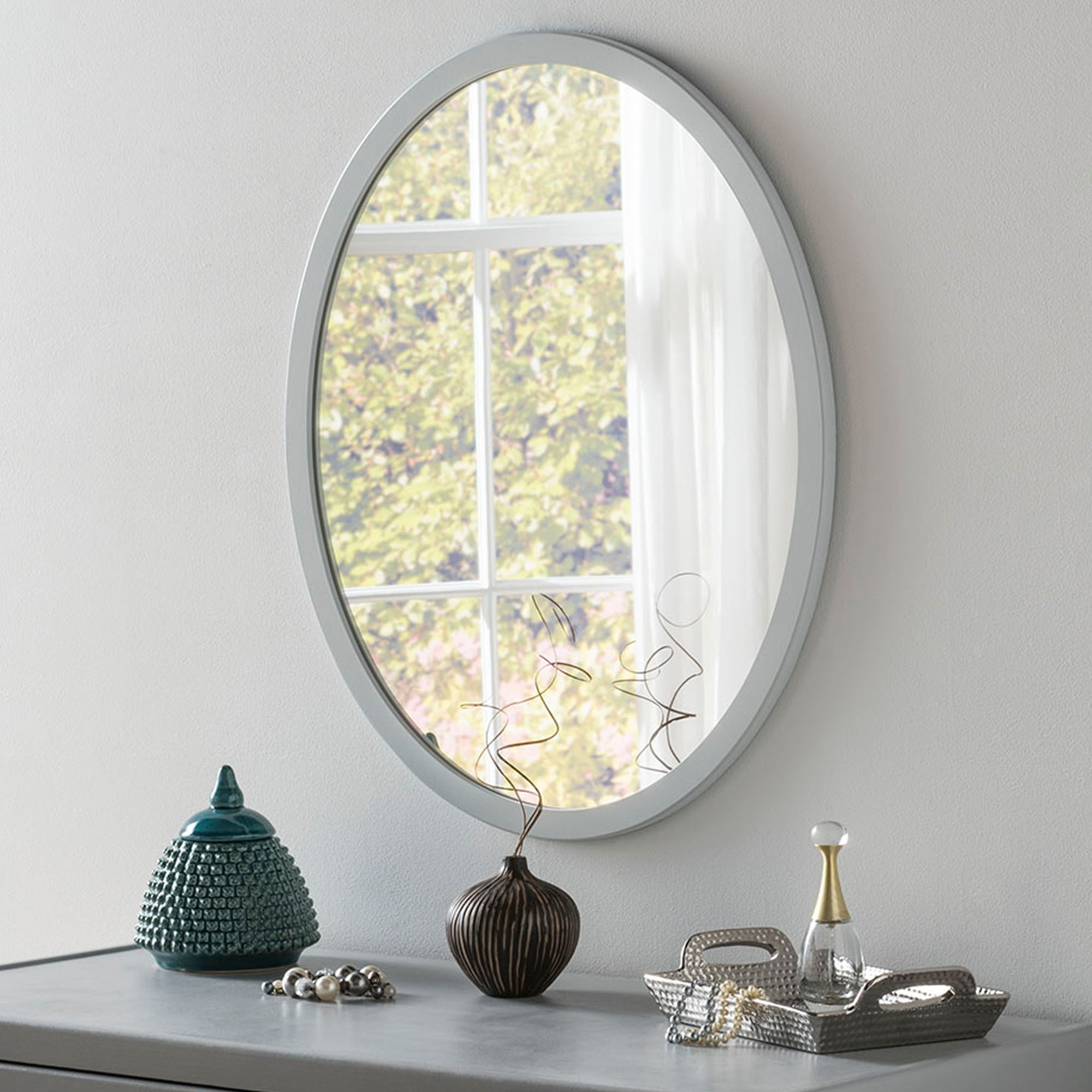 Classic Oval Light Grey Wall Mirror Intended For Well Known Gray Wall Mirrors (View 10 of 20)