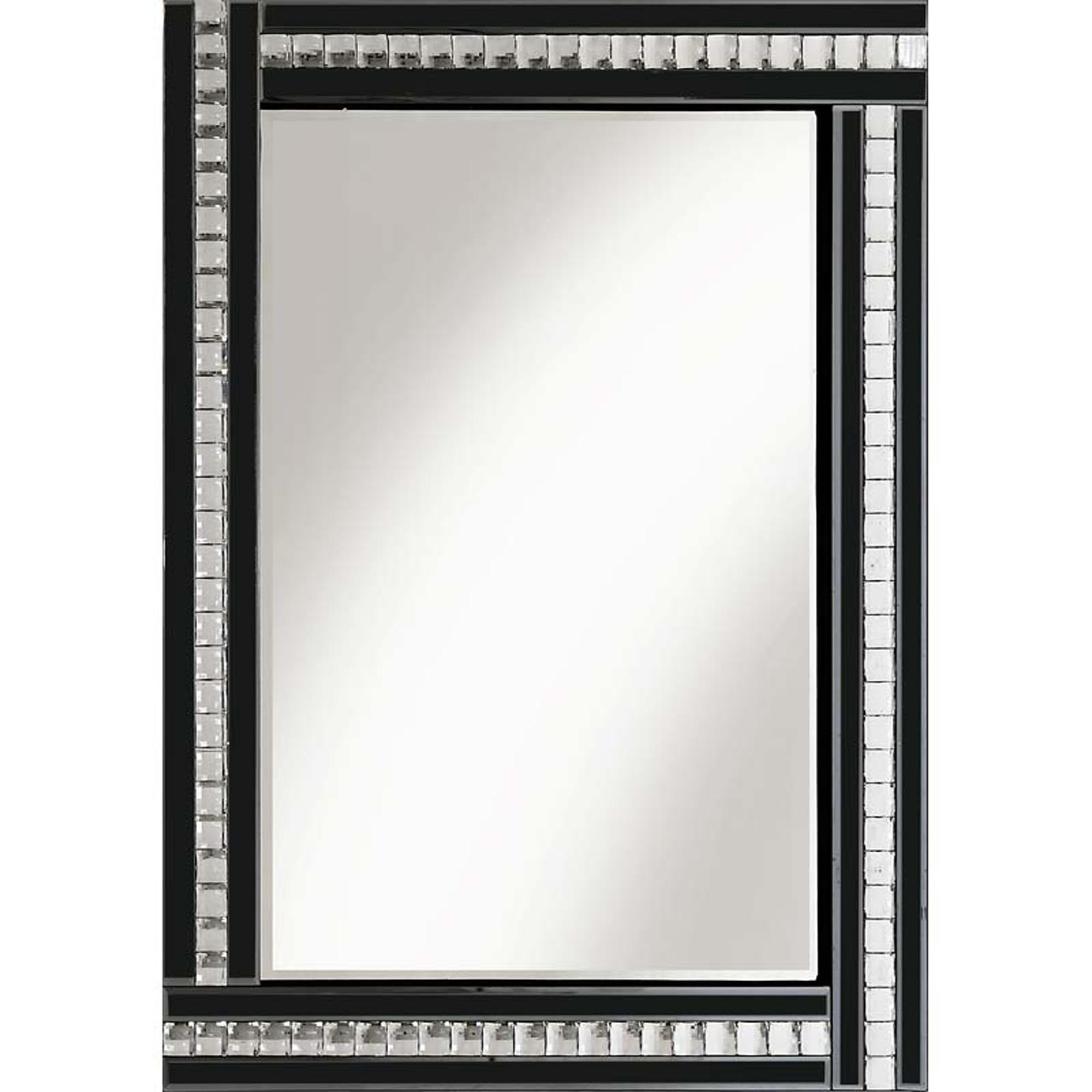 Classic Triple Bar Crystal Black Mirror With Trendy Crystal Wall Mirrors (View 7 of 20)