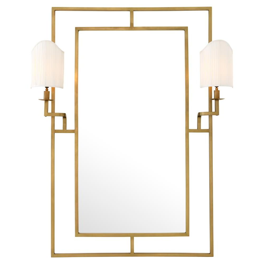 Classic Wall Mirrors In Famous Eichholtz Astaire Modern Classic Lamp Beveled Brass Wall Mirror (View 16 of 20)
