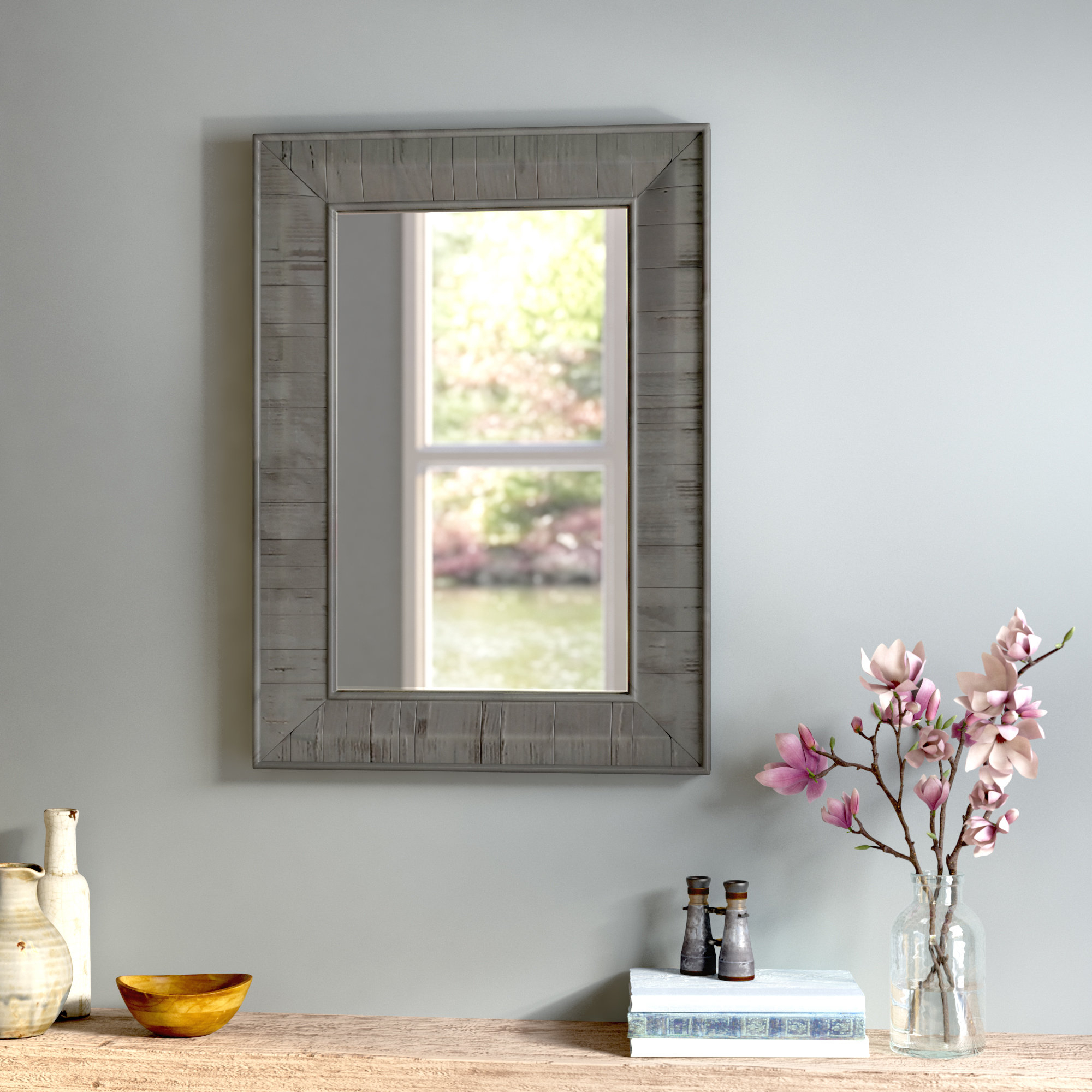 Clemmie Rectangle Rustic Wood Wall Mirror Intended For Most Current Rustic Wood Wall Mirrors (View 9 of 20)