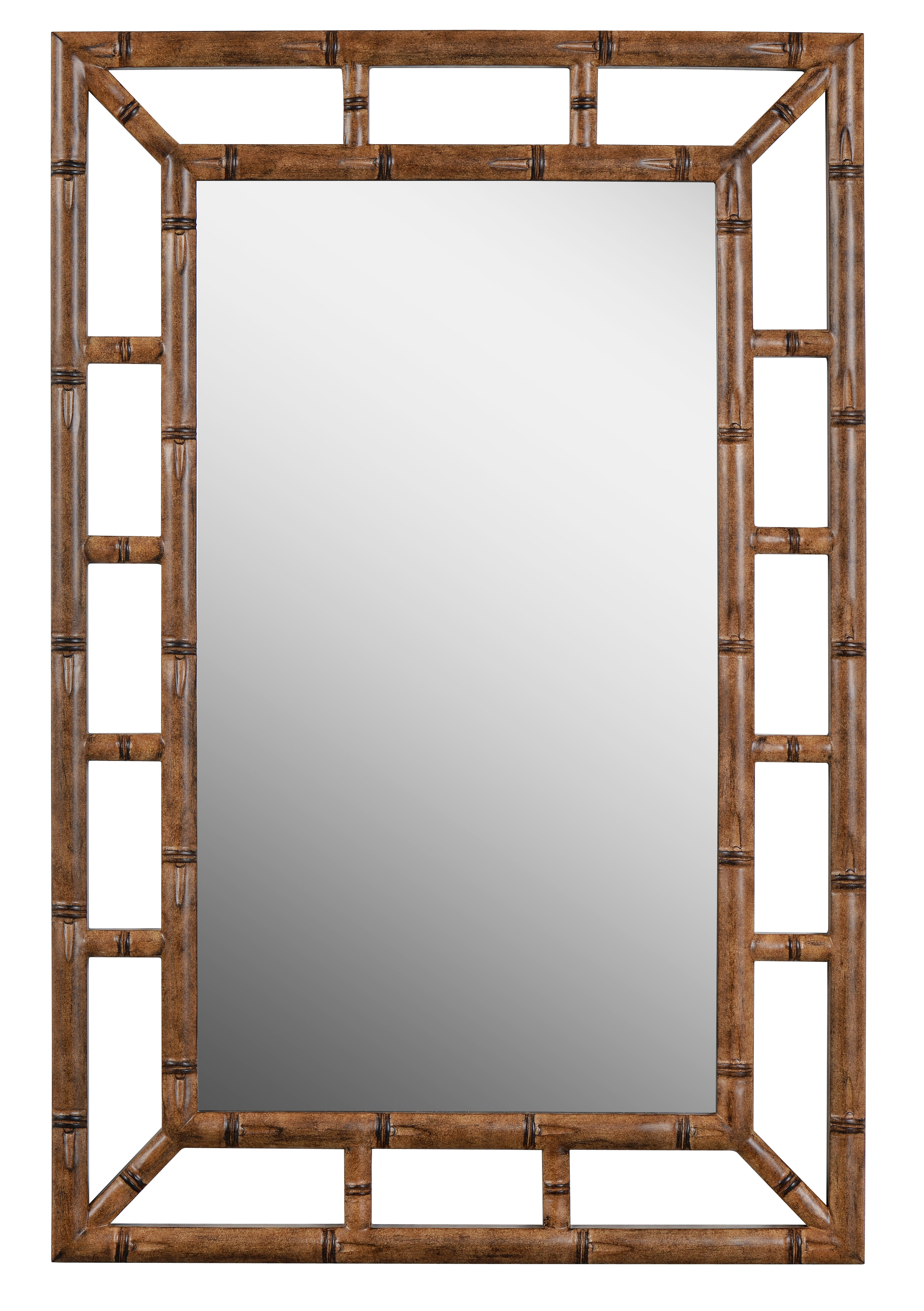 Cleta Bamboo Brown Traditional Beveled Wall Mirror For 2019 2 Piece Priscilla Square Traditional Beveled Distressed Accent Mirror Sets (View 7 of 20)