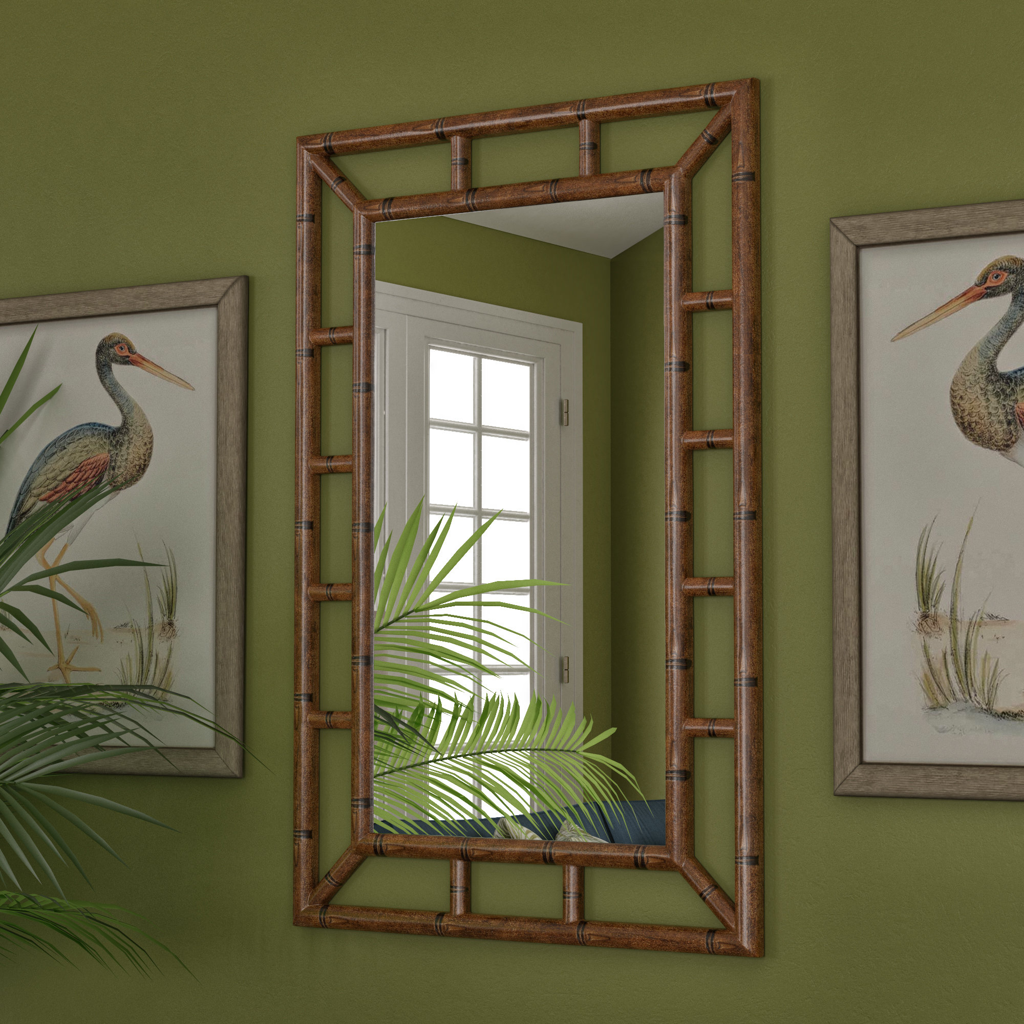 Cleta Bamboo Brown Traditional Beveled Wall Mirror Regarding Famous 2 Piece Priscilla Square Traditional Beveled Distressed Accent Mirror Sets (View 18 of 20)