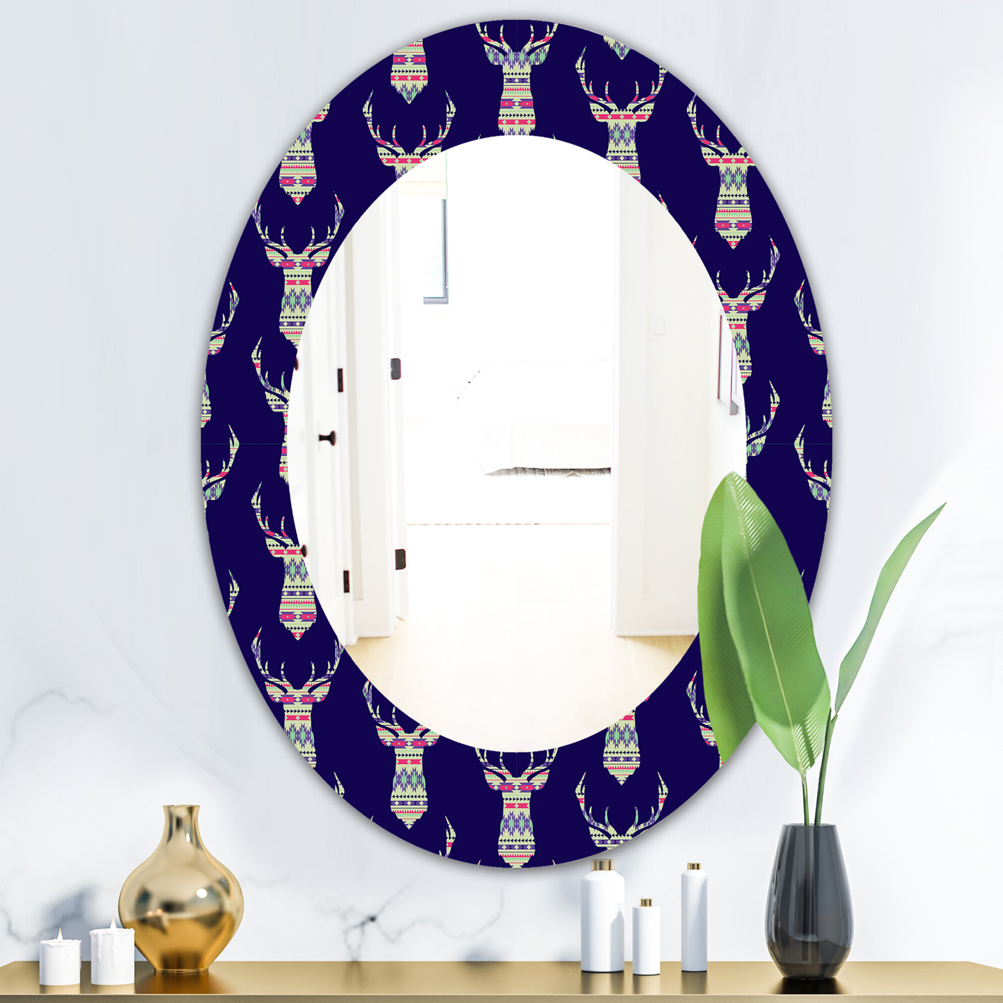 Colorful Wall Mirrors For Most Popular East Urban Home Colorful Decorative Ethnic With Deer Modern (View 2 of 20)