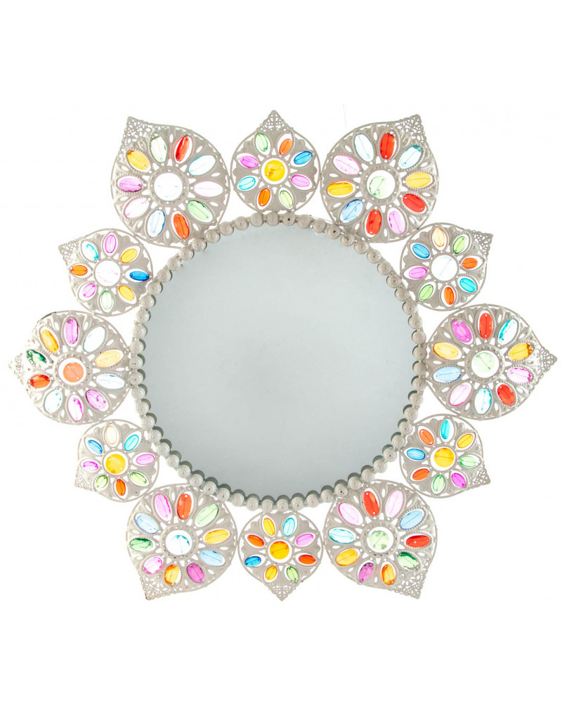 Colorful Wall Mirrors In Preferred Wall Mirror Round Metal And Acrylic Floral Design, Original And (View 6 of 20)