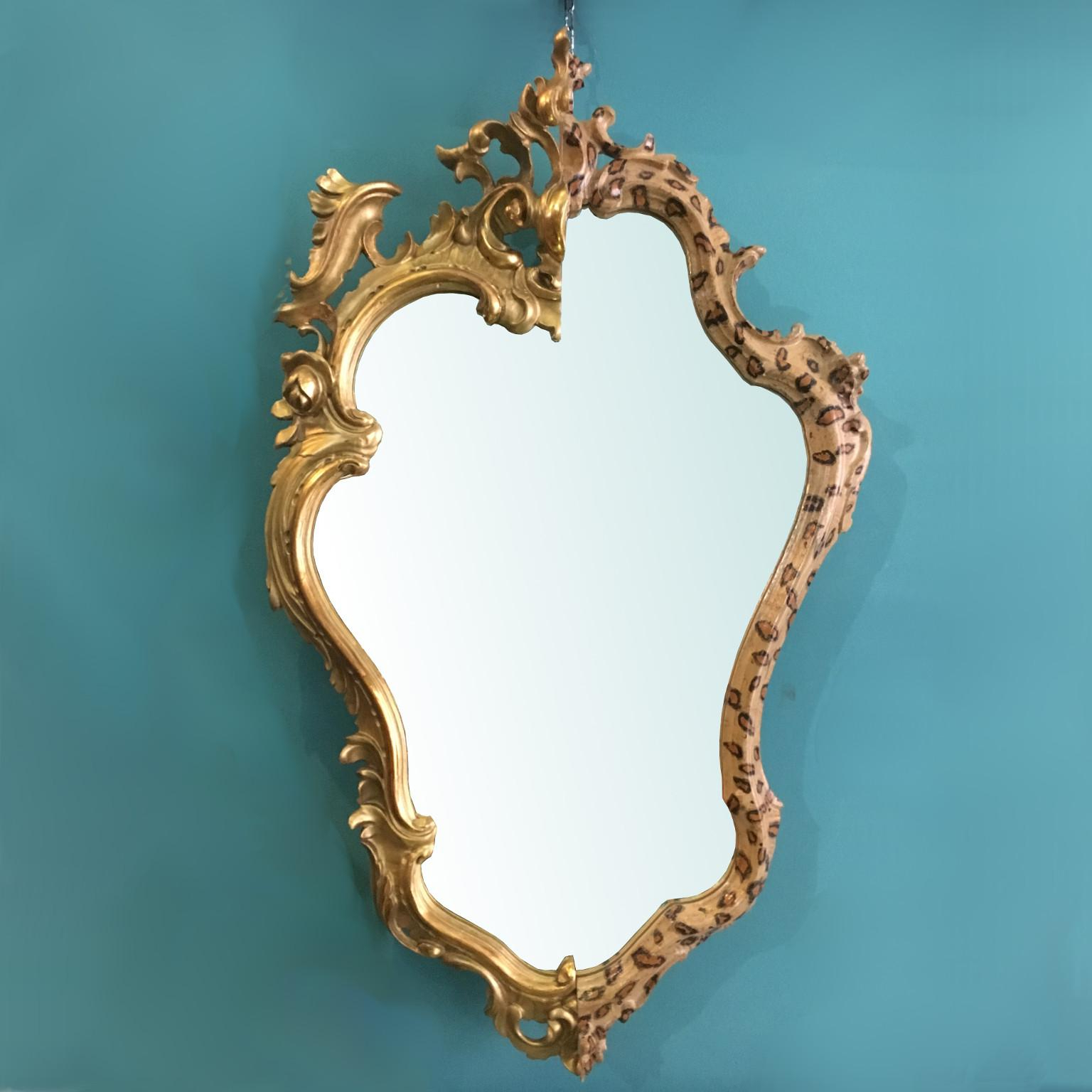 Contemporary Wall Mirror From Two Gilded And Leopard Spot Painted Antique  Frames Within Most Recent Leopard Wall Mirrors (View 4 of 20)