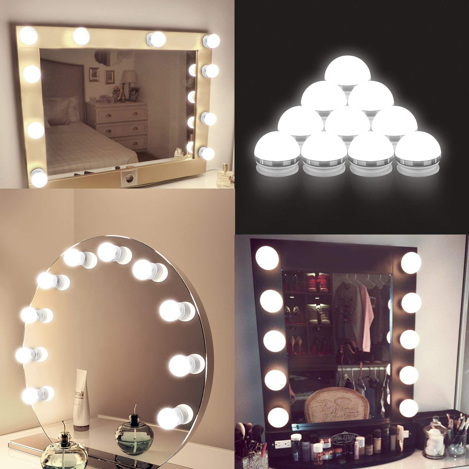 Coolmade Vanity Lights Kit Hollywood Style Makeup Light Bulbs With Stickers Attached To Bathroom Wall Or Dressing Table Mirrors, With Dimmable Switch Throughout Most Recent Wall Mirrors With Light Bulbs (View 9 of 20)