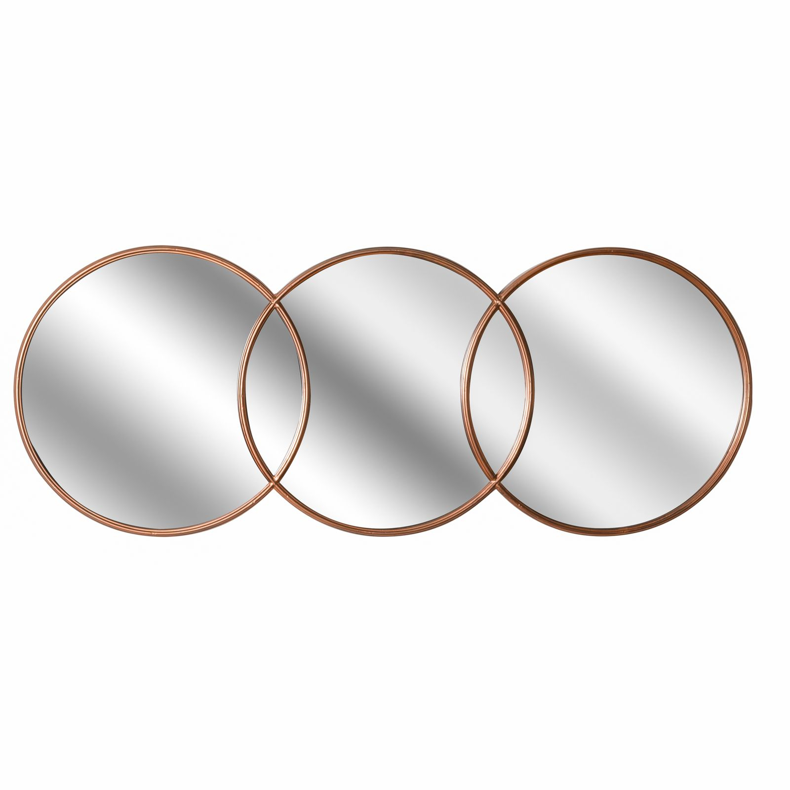 Copper Effect Triple Hanging Round Mirror Inside Widely Used Triple Oval Wall Mirrors (View 5 of 20)