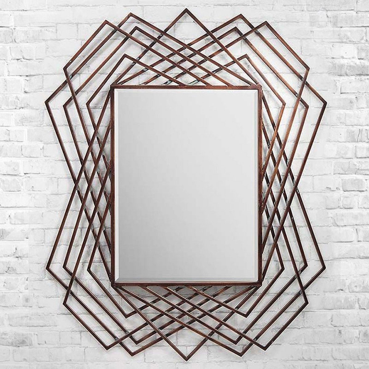 Copper Geometric Wall Mirror – 94 X 121cm Within Most Recently Released Geometric Wall Mirrors (View 10 of 20)